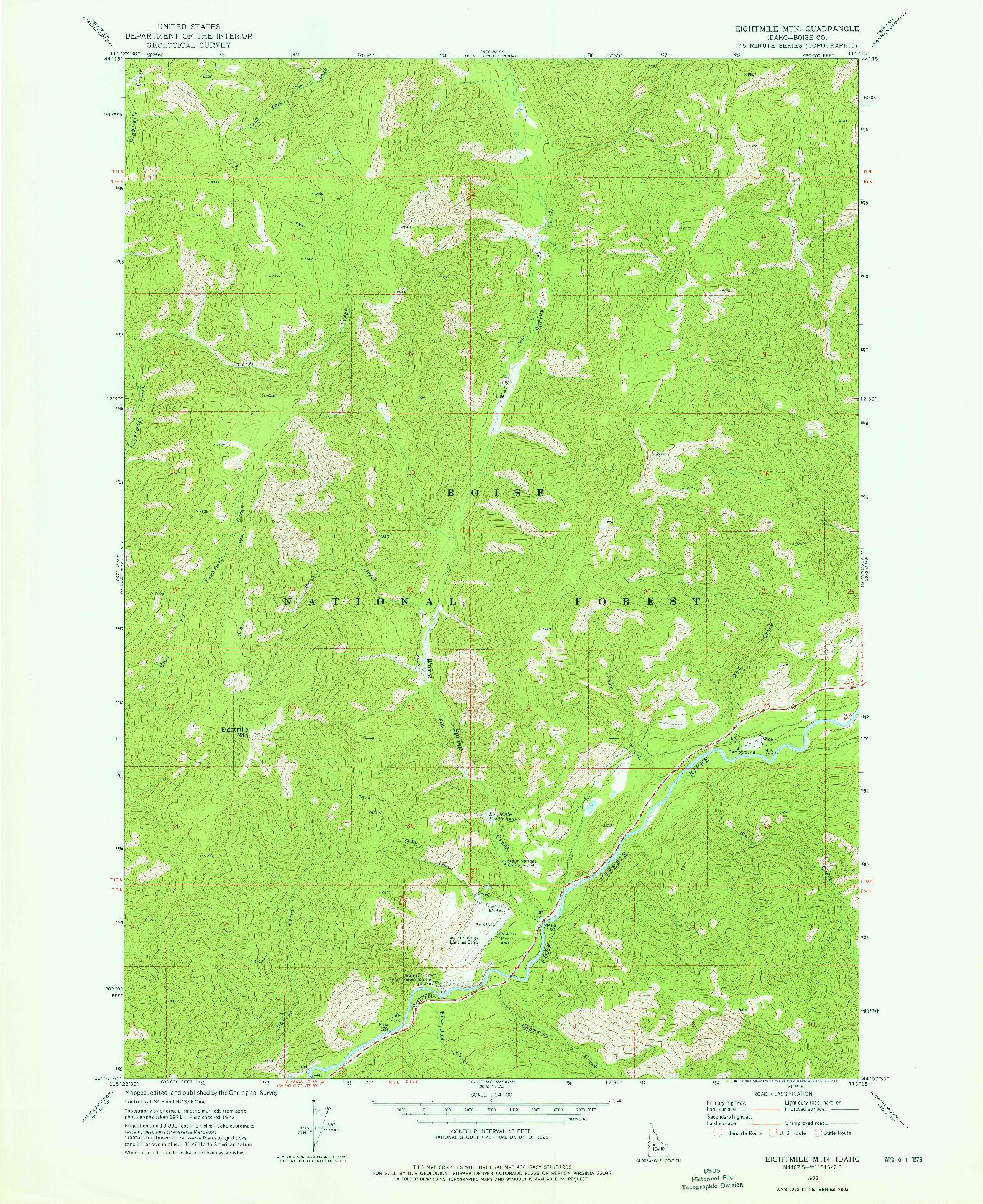 USGS 1:24000-SCALE QUADRANGLE FOR EIGHTMILE MTN, ID 1972