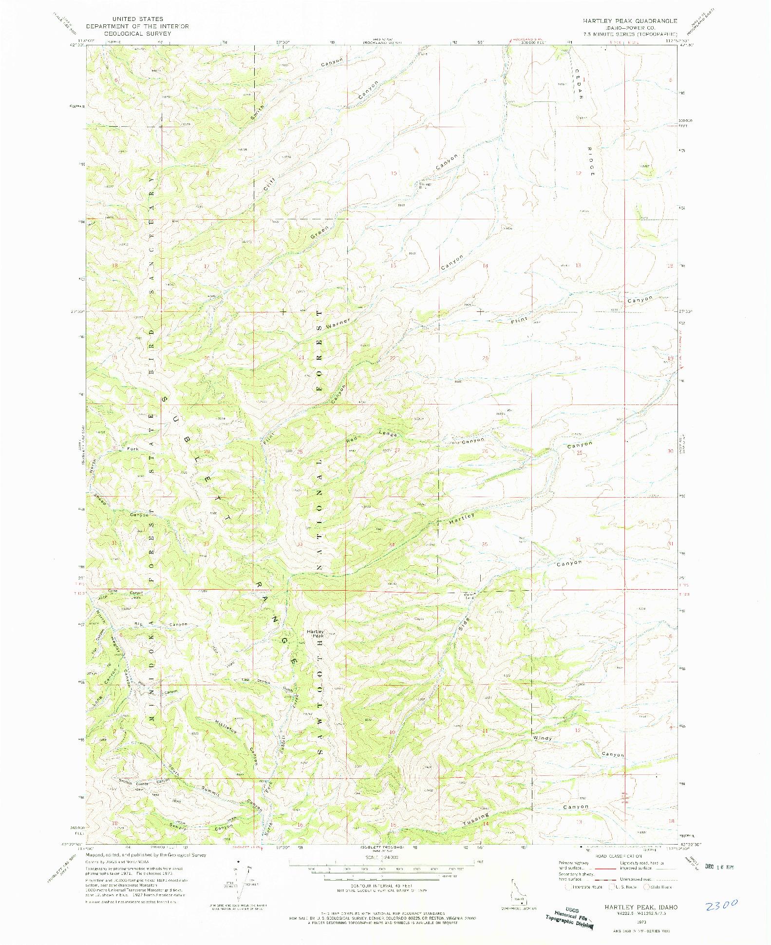 USGS 1:24000-SCALE QUADRANGLE FOR HARTLEY PEAK, ID 1973