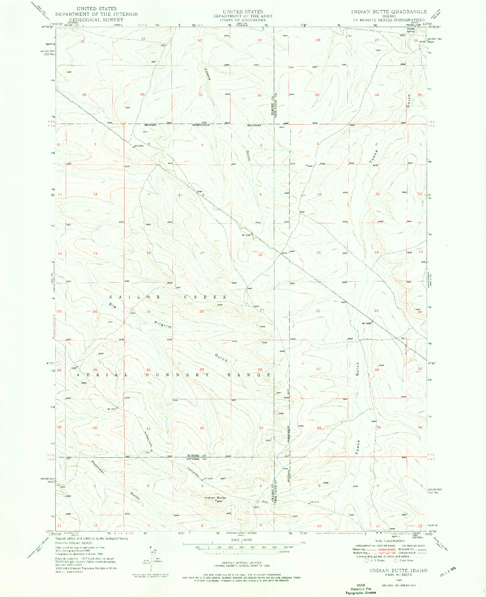 USGS 1:24000-SCALE QUADRANGLE FOR INDIAN BUTTE, ID 1949