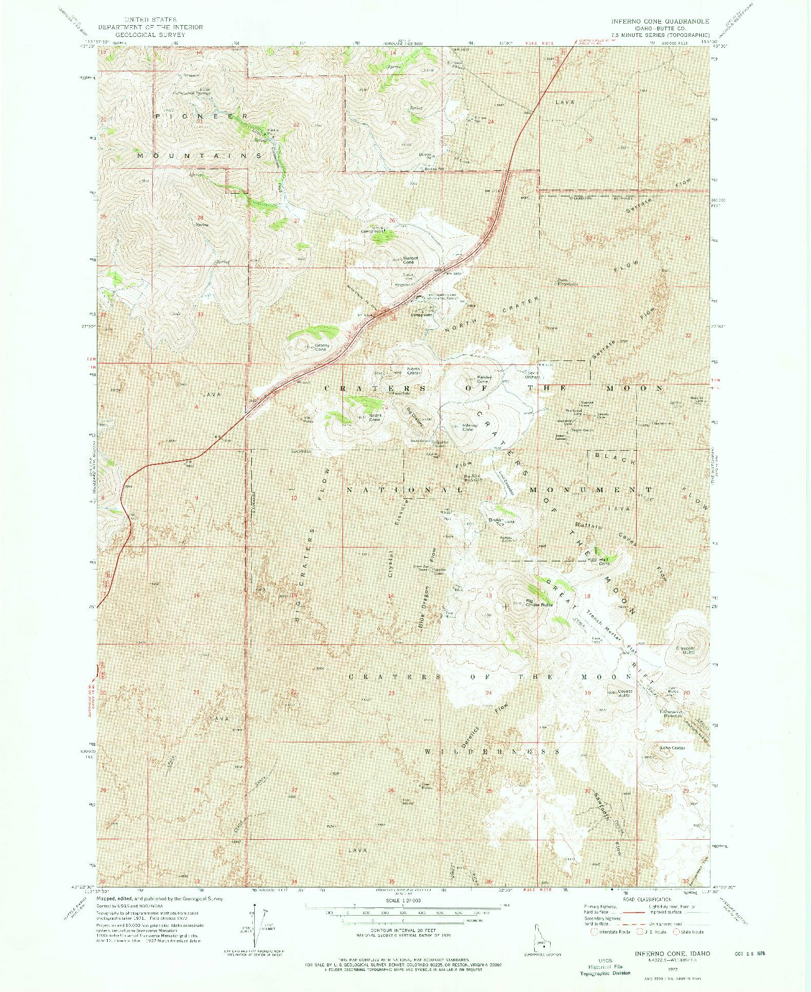 USGS 1:24000-SCALE QUADRANGLE FOR INFERNO CONE, ID 1972