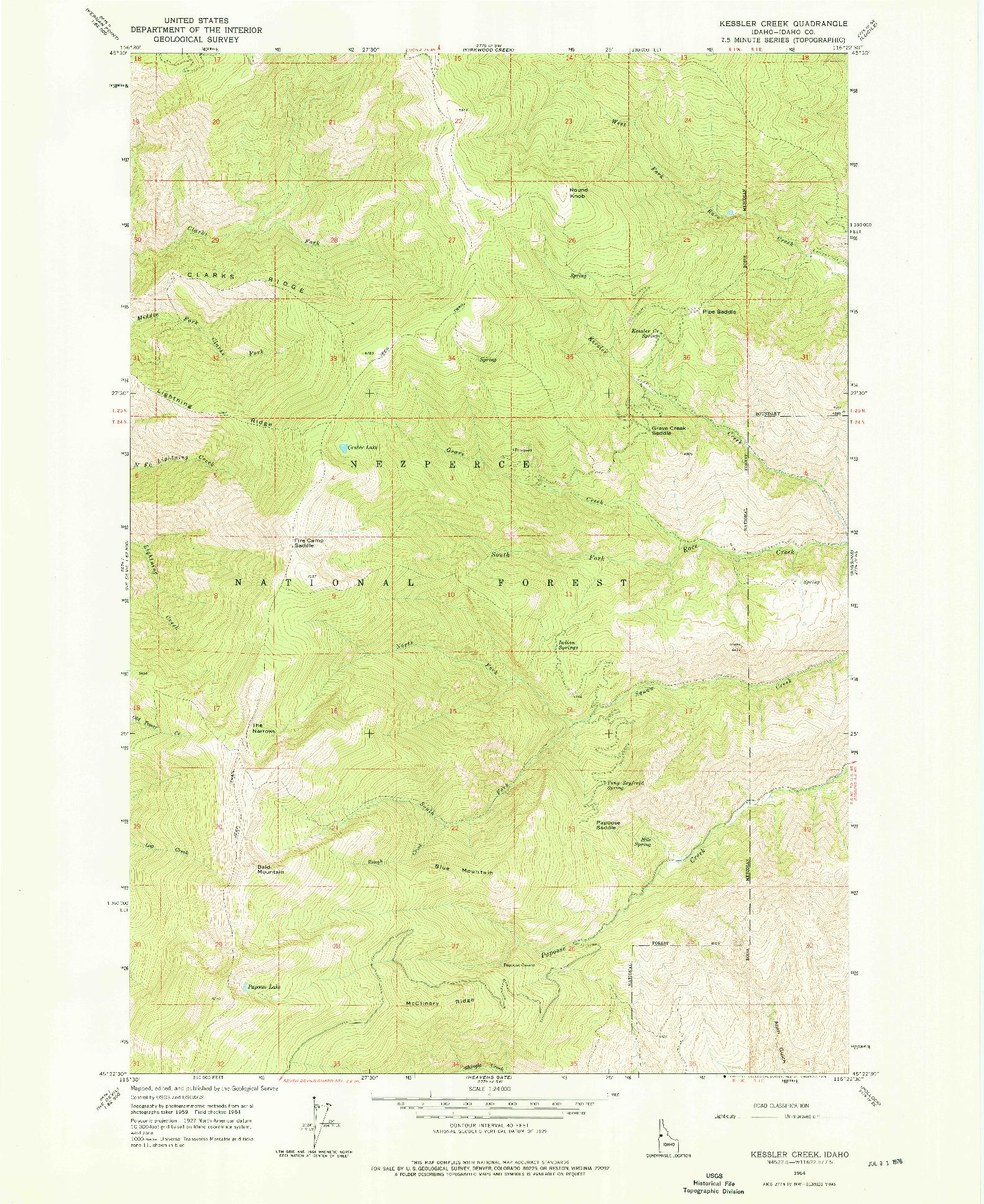 USGS 1:24000-SCALE QUADRANGLE FOR KESSLER CREEK, ID 1964