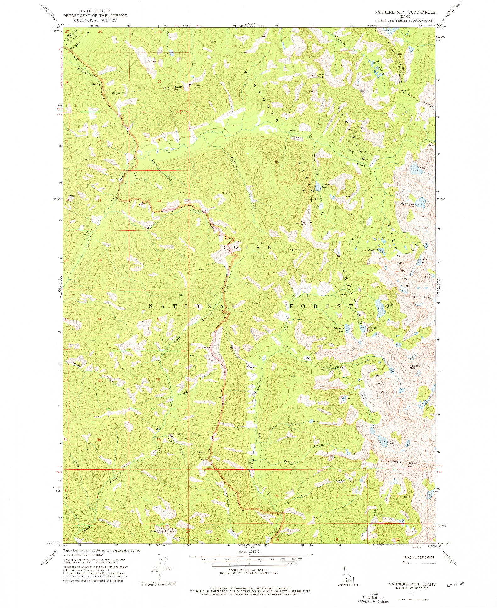 USGS 1:24000-SCALE QUADRANGLE FOR NAHNEKE MTN, ID 1972