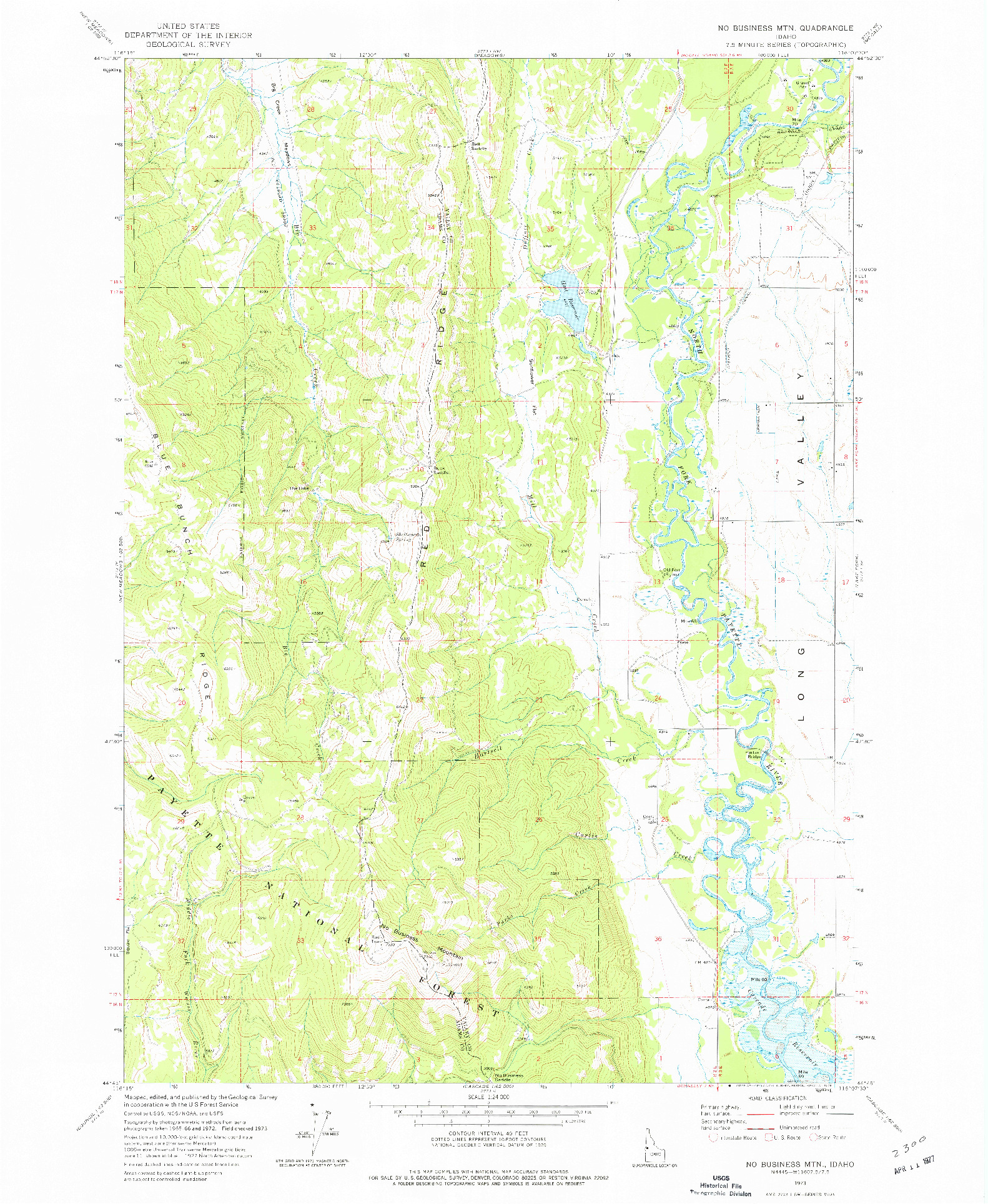 USGS 1:24000-SCALE QUADRANGLE FOR NO BUSINESS MTN, ID 1973