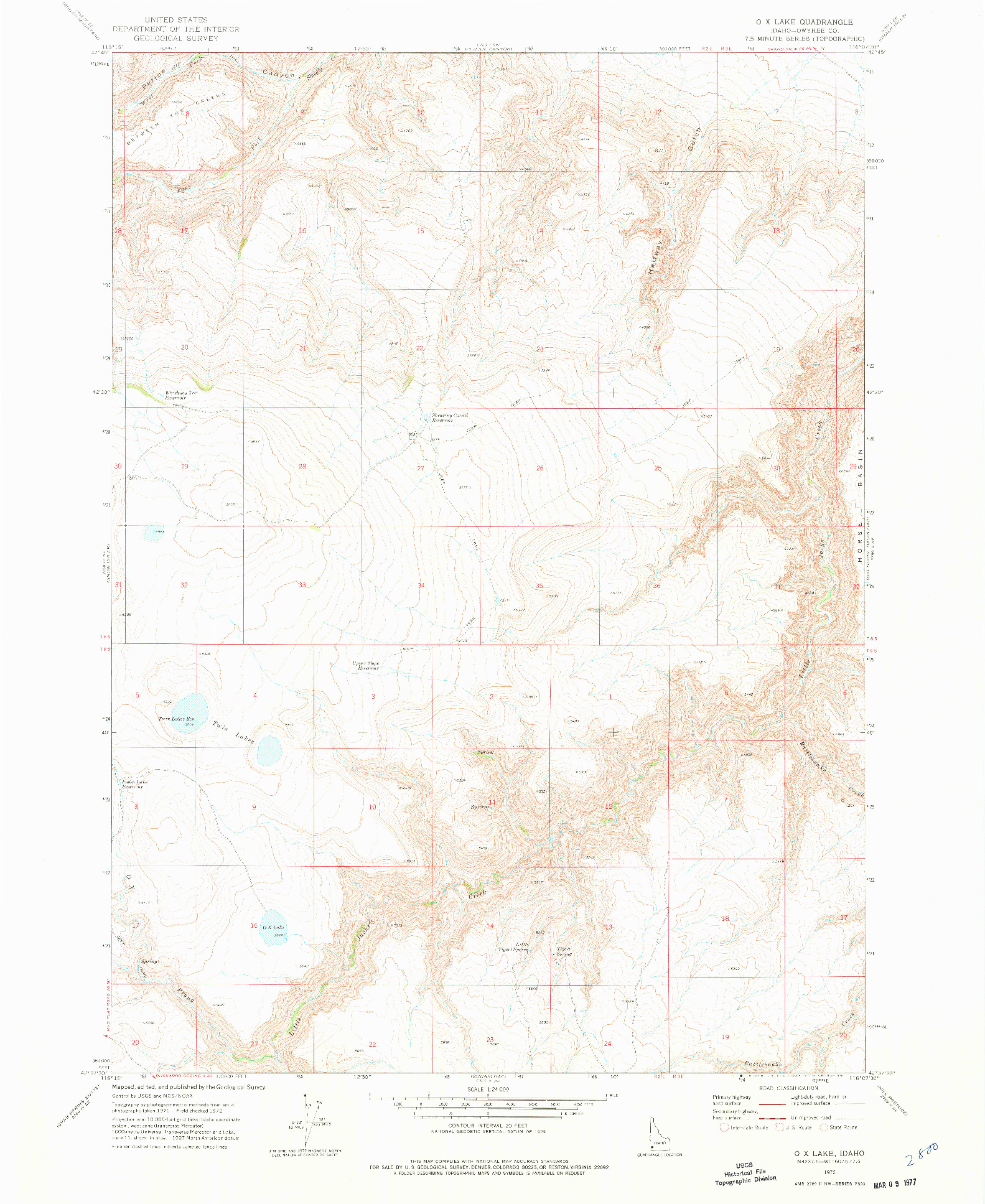 USGS 1:24000-SCALE QUADRANGLE FOR O X LAKE, ID 1972
