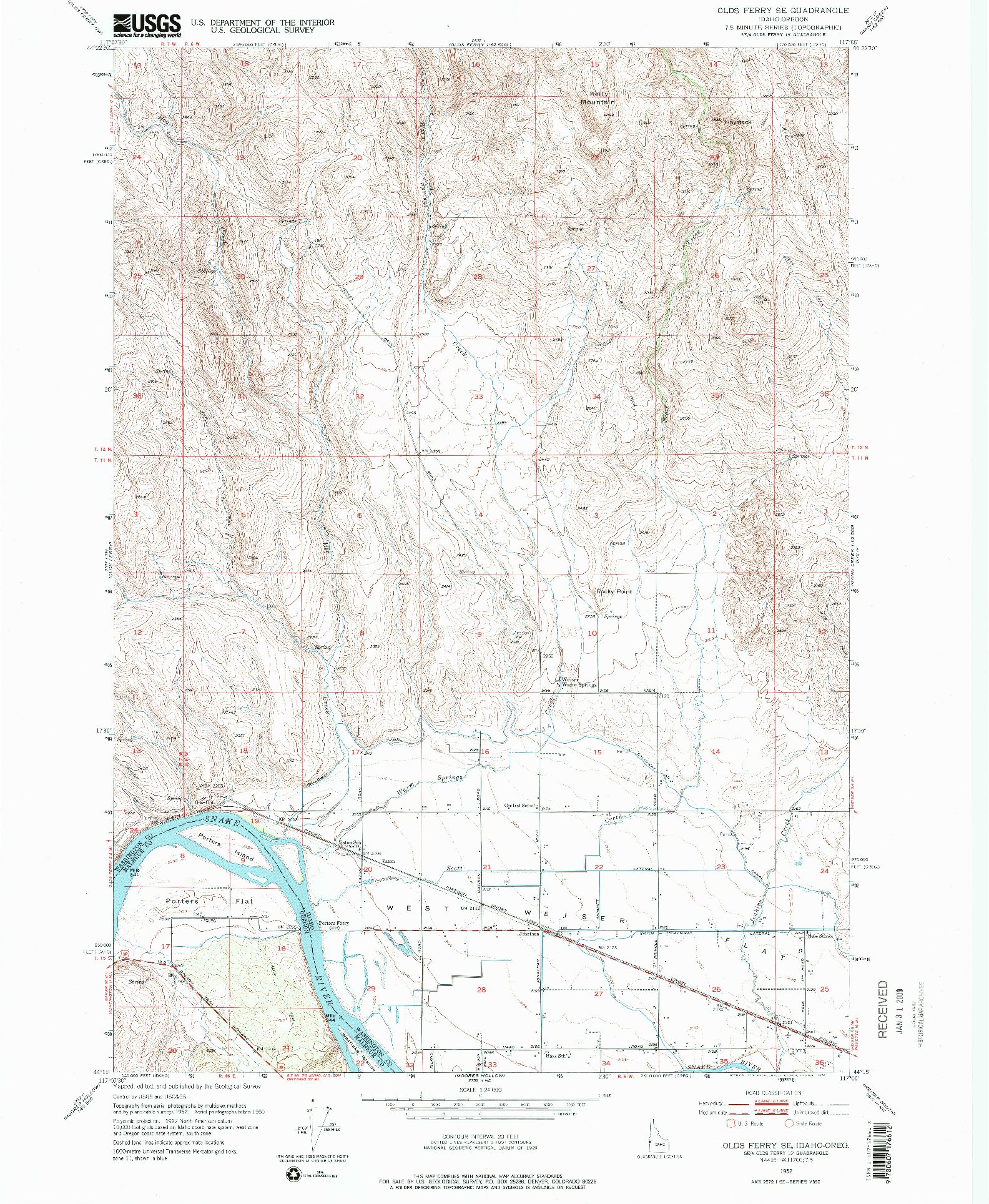 USGS 1:24000-SCALE QUADRANGLE FOR OLDS FERRY SE, ID 1952
