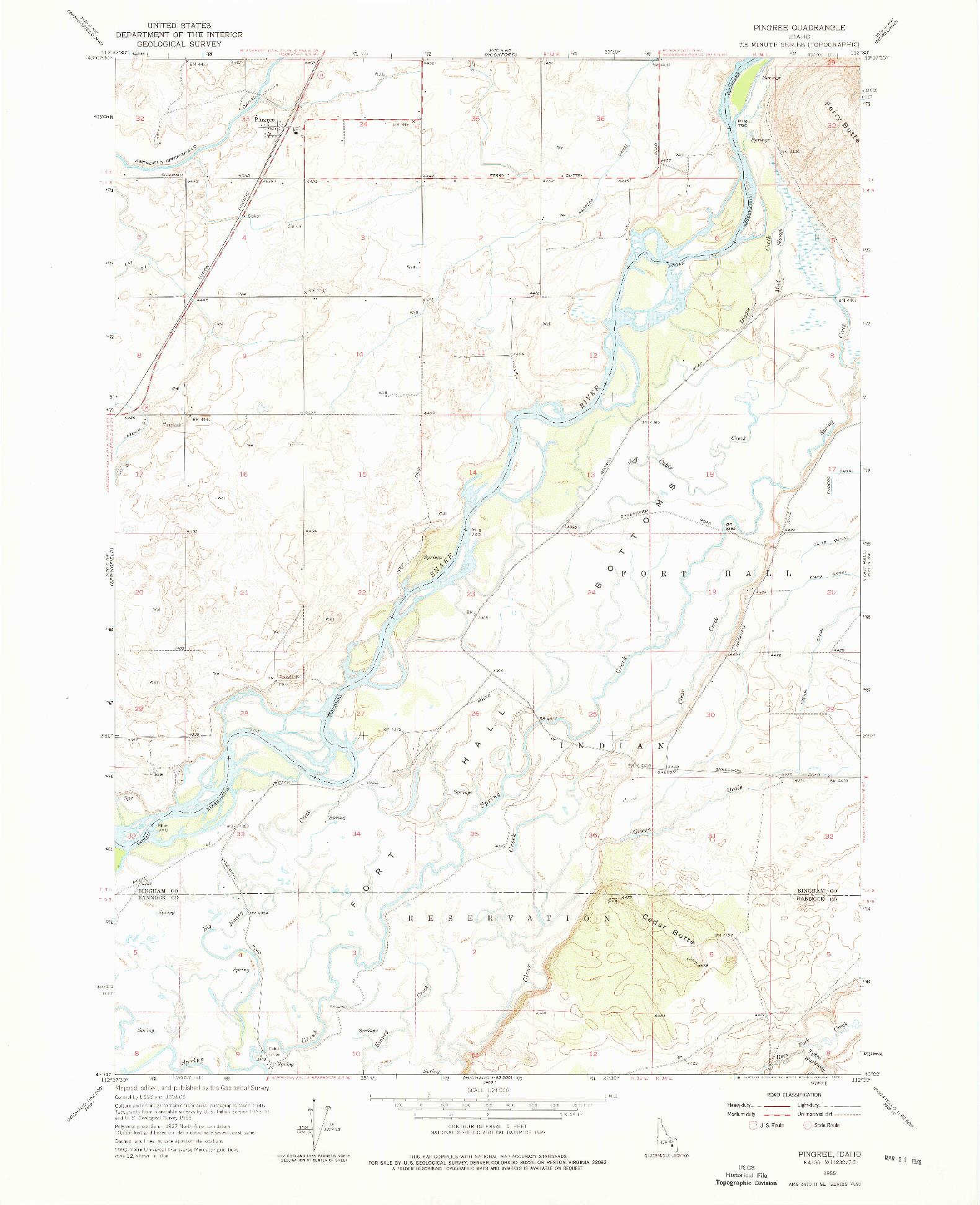 USGS 1:24000-SCALE QUADRANGLE FOR PINGREE, ID 1955