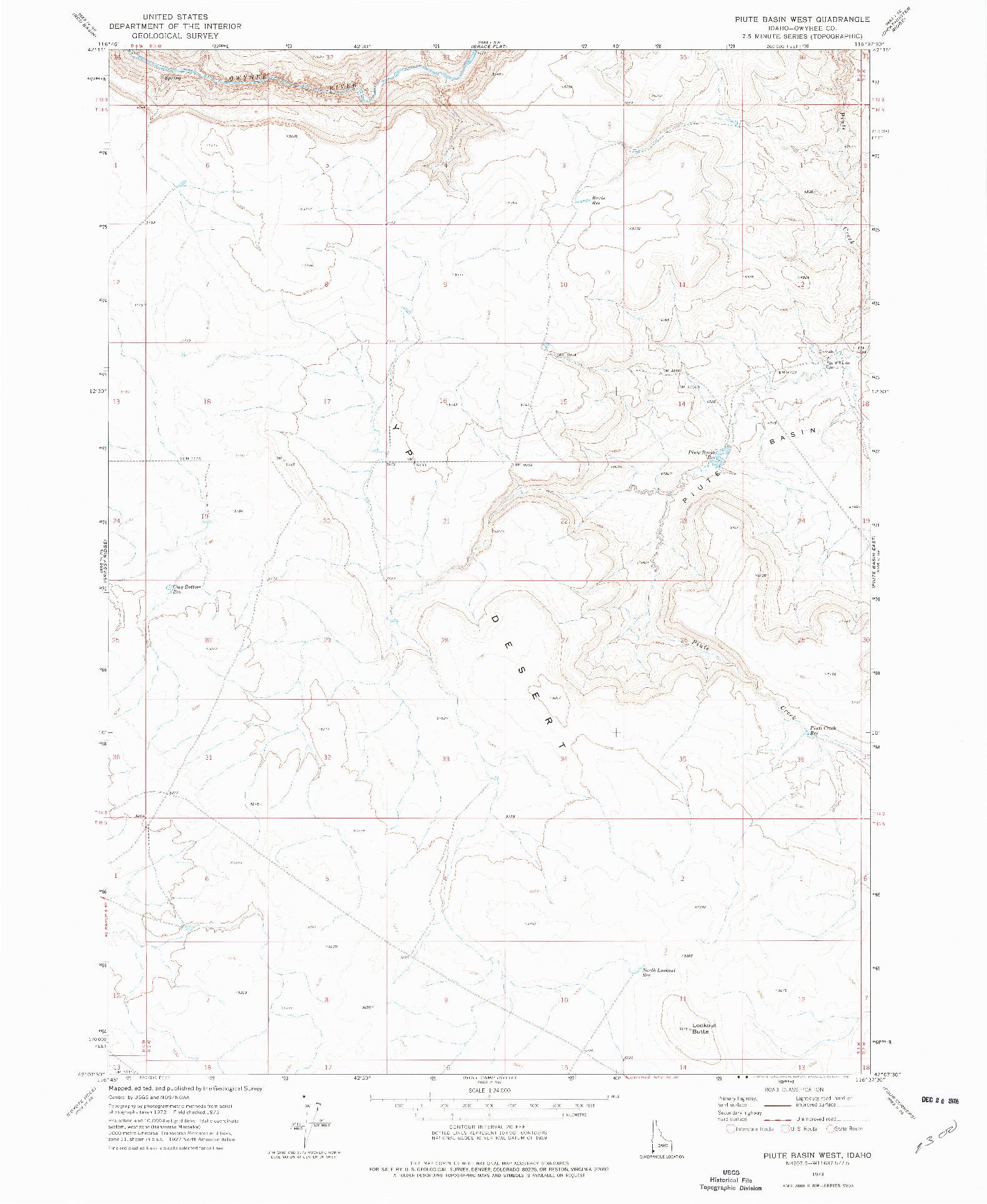 USGS 1:24000-SCALE QUADRANGLE FOR PIUTE BASIN WEST, ID 1973