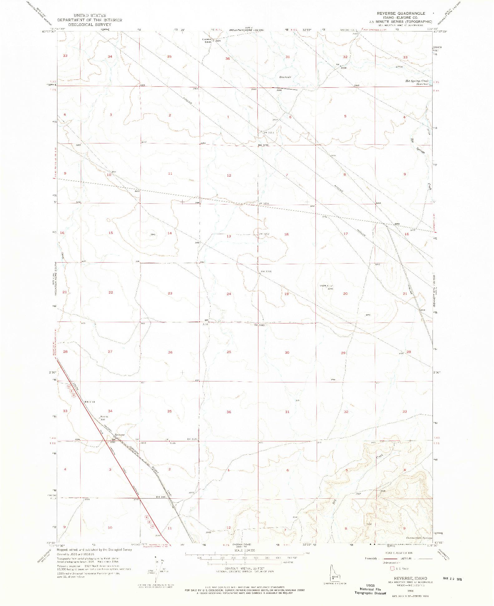 USGS 1:24000-SCALE QUADRANGLE FOR REVERSE, ID 1956
