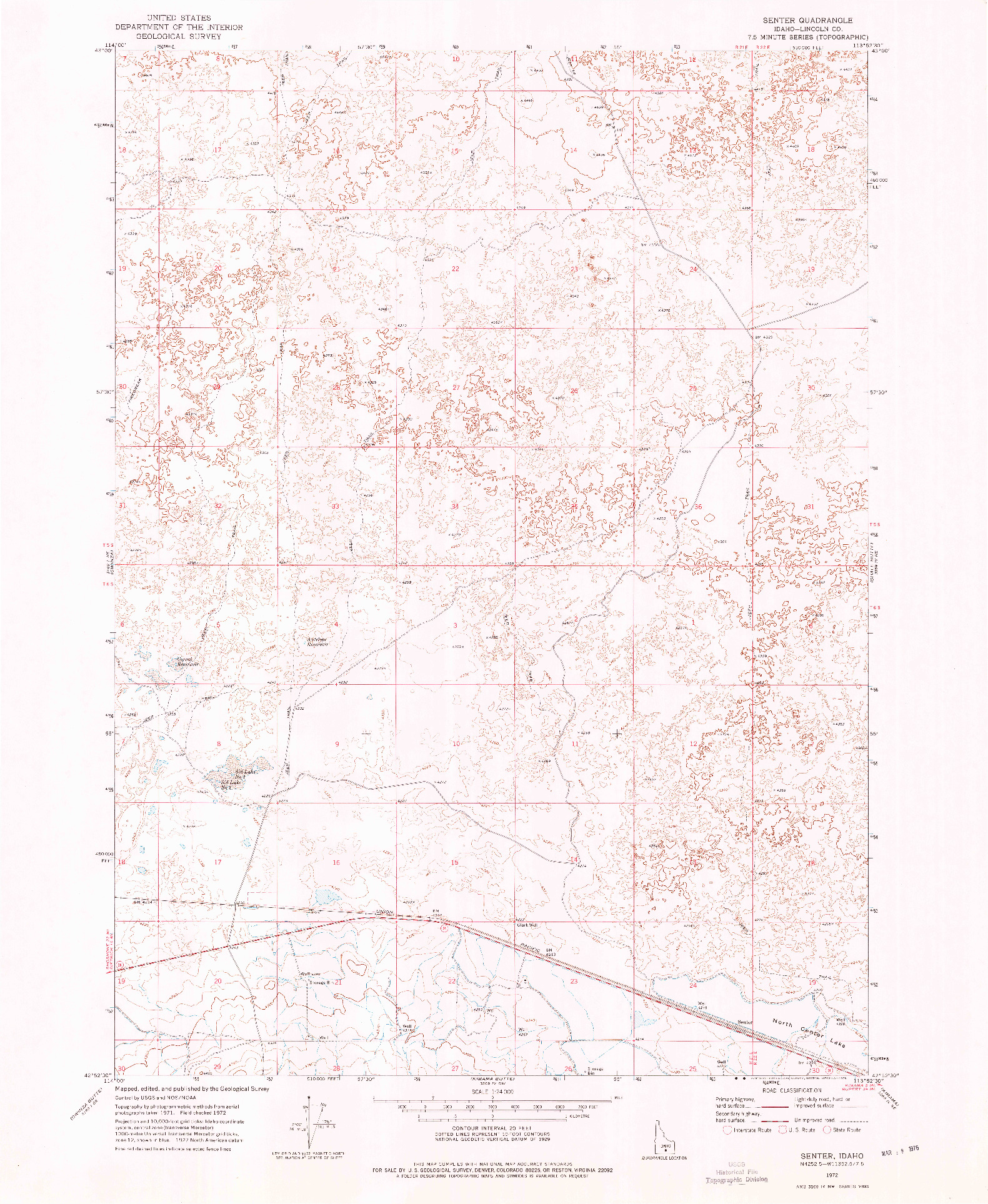 USGS 1:24000-SCALE QUADRANGLE FOR SENTER, ID 1972