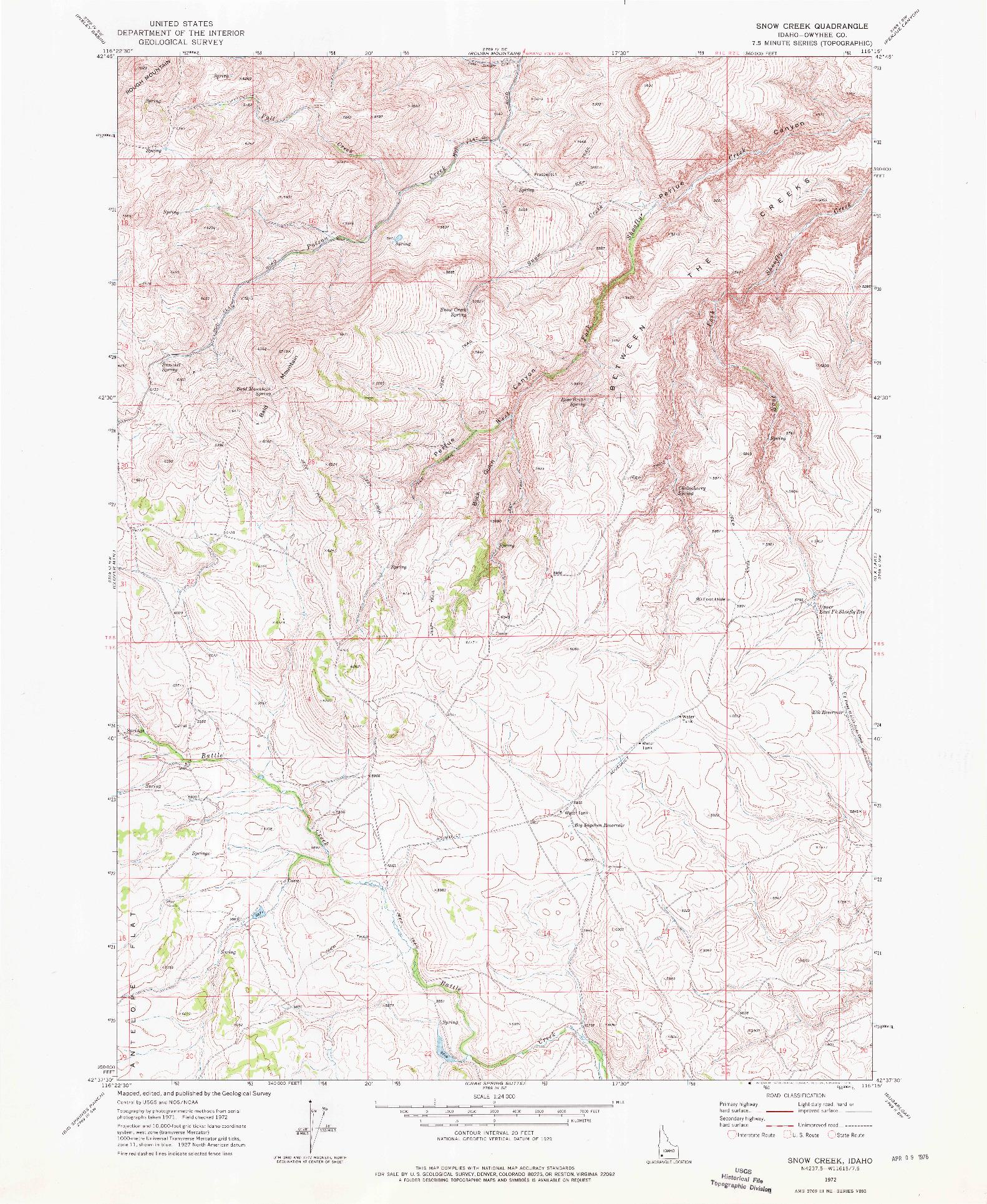 USGS 1:24000-SCALE QUADRANGLE FOR SNOW CREEK, ID 1972