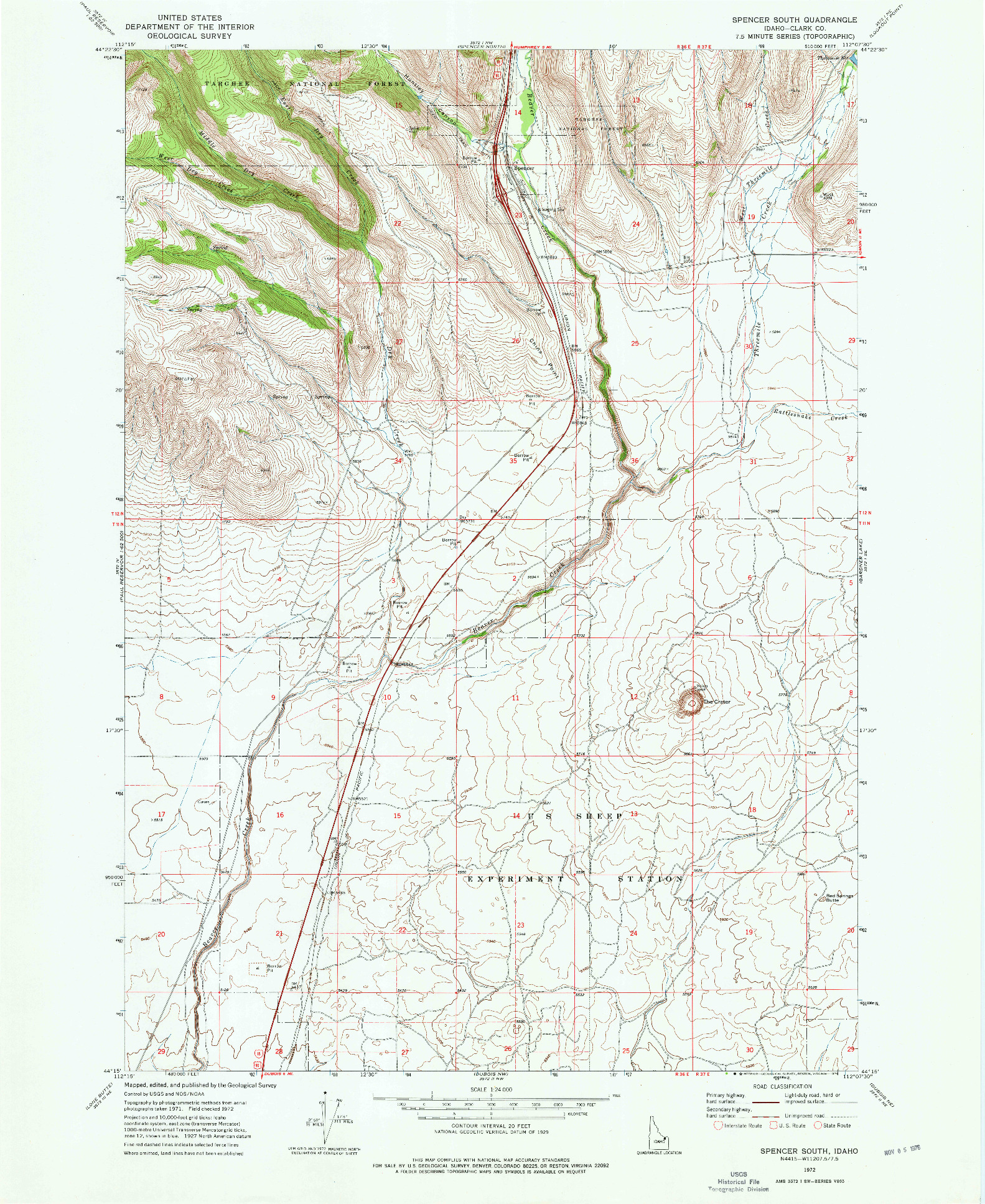 USGS 1:24000-SCALE QUADRANGLE FOR SPENCER SOUTH, ID 1972