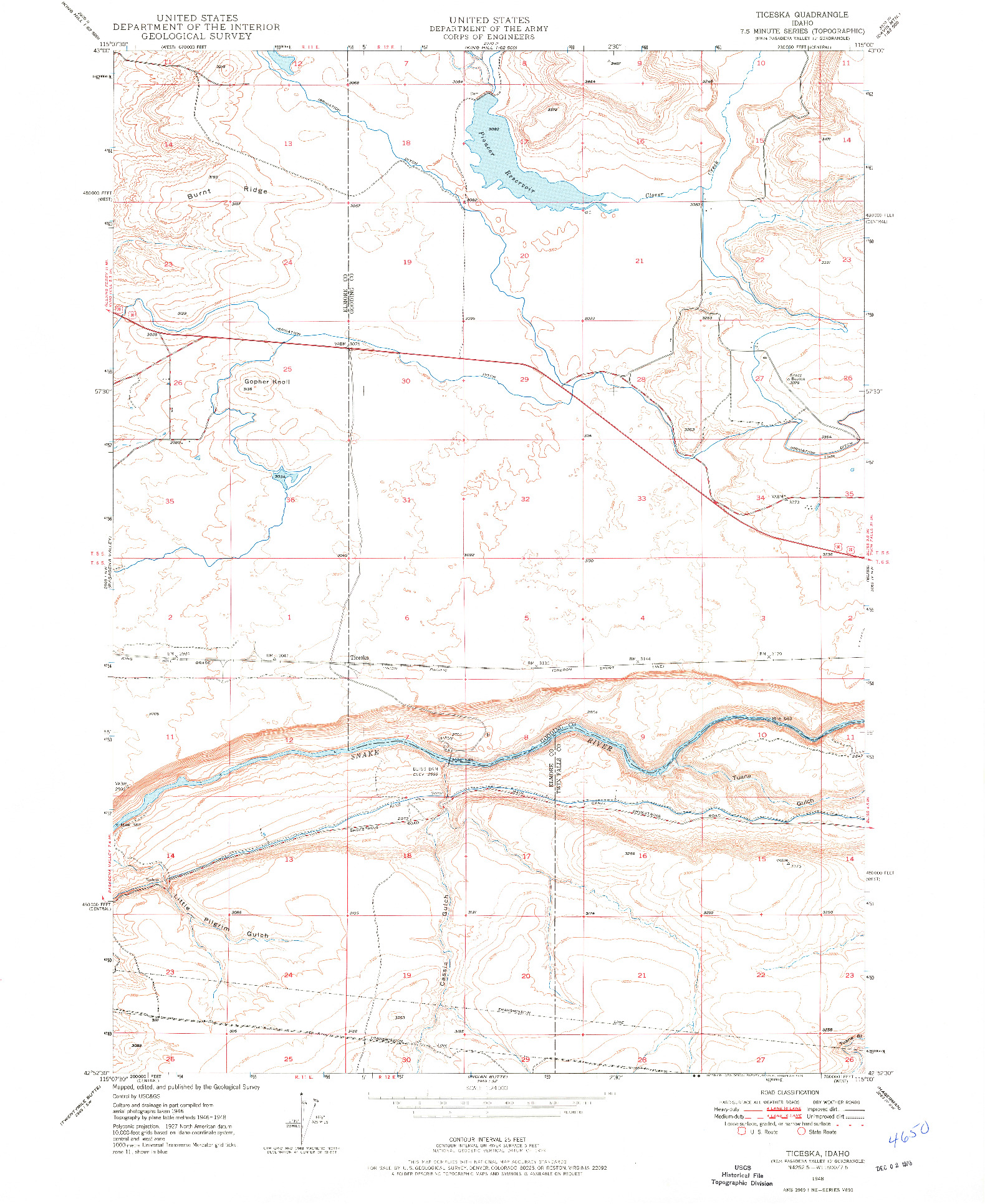 USGS 1:24000-SCALE QUADRANGLE FOR TICESKA, ID 1948