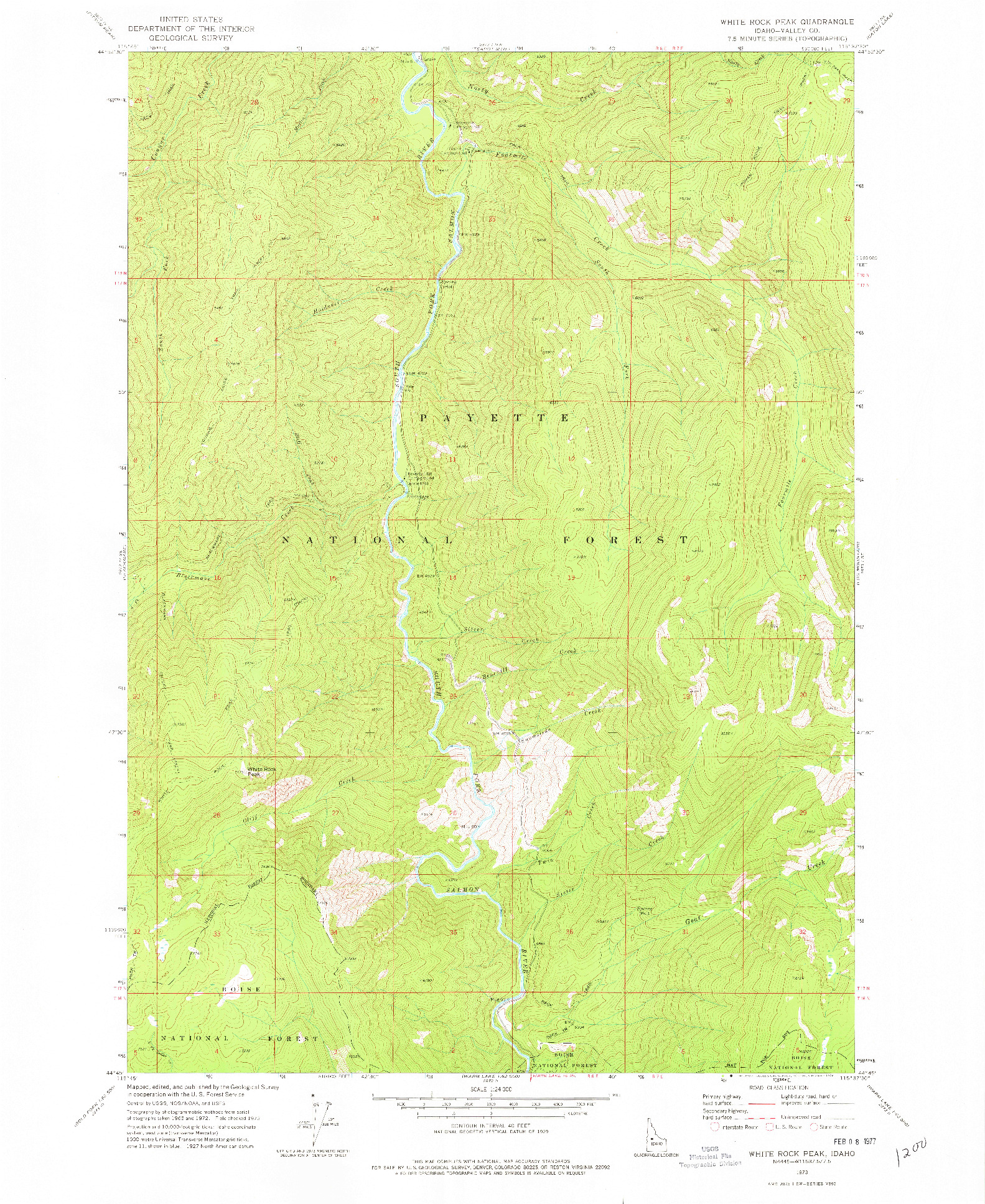 USGS 1:24000-SCALE QUADRANGLE FOR WHITE ROCK PEAK, ID 1973