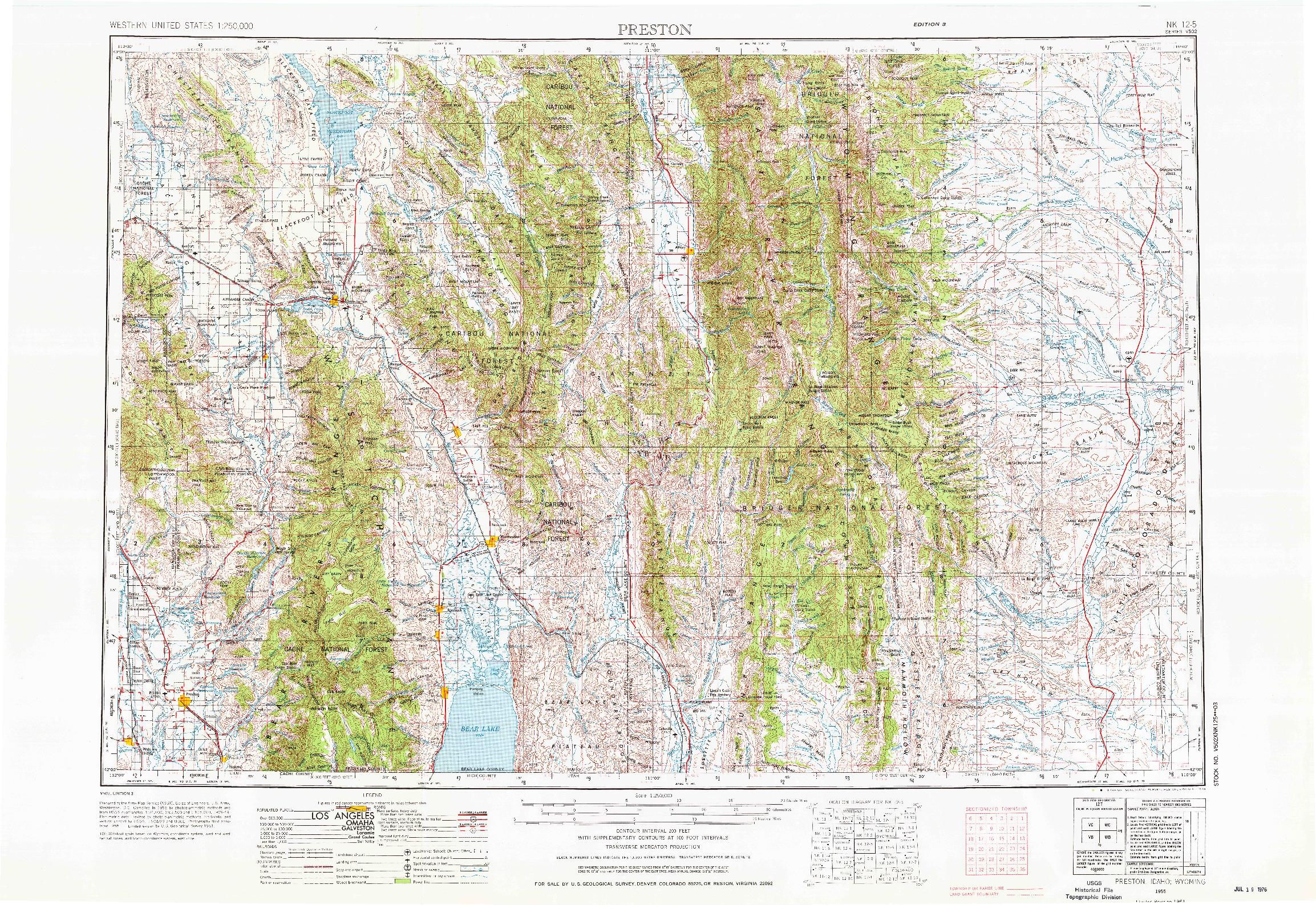 USGS 1:250000-SCALE QUADRANGLE FOR PRESTON, ID 1955