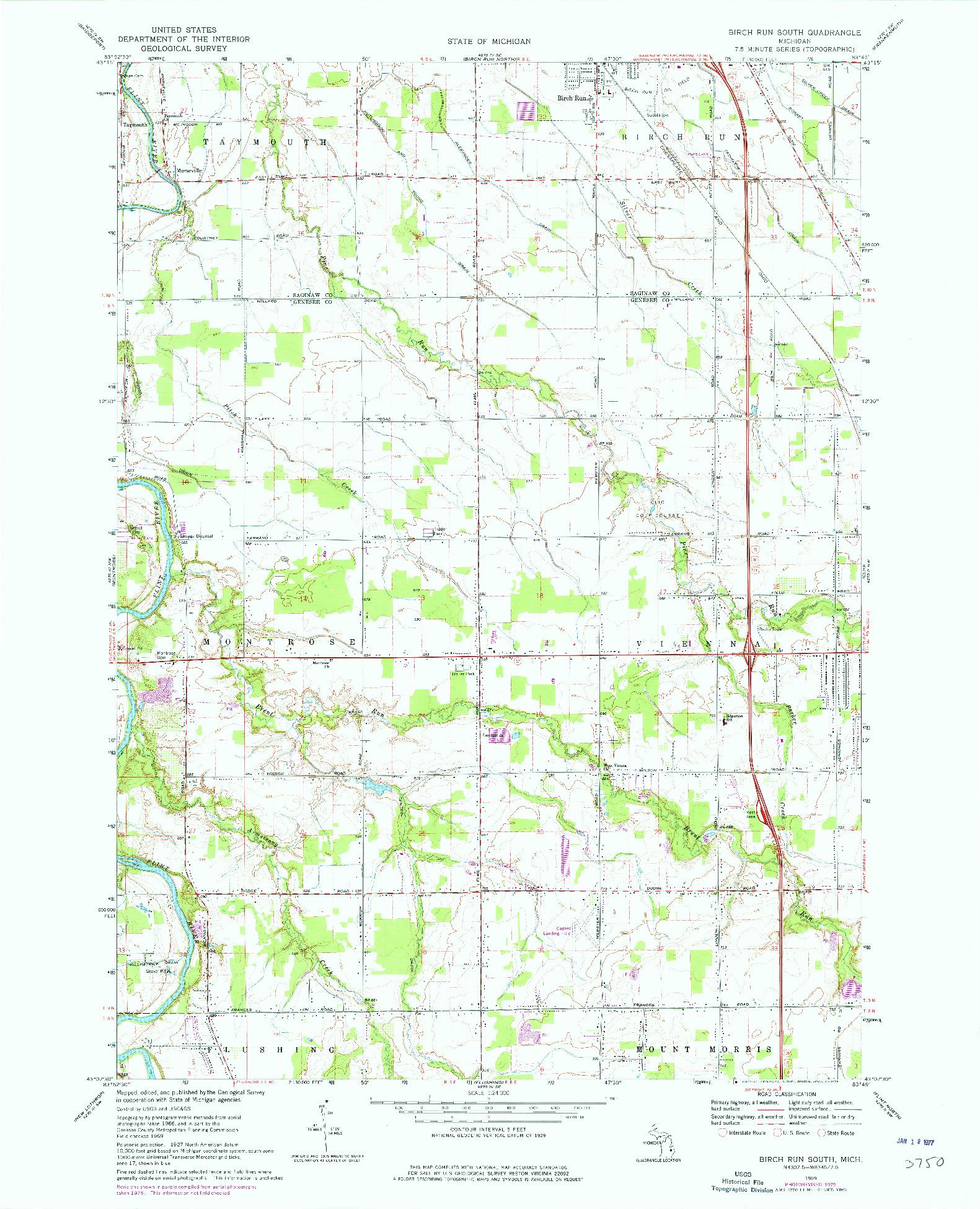 USGS 1:24000-SCALE QUADRANGLE FOR BIRCH RUN SOUTH, MI 1969