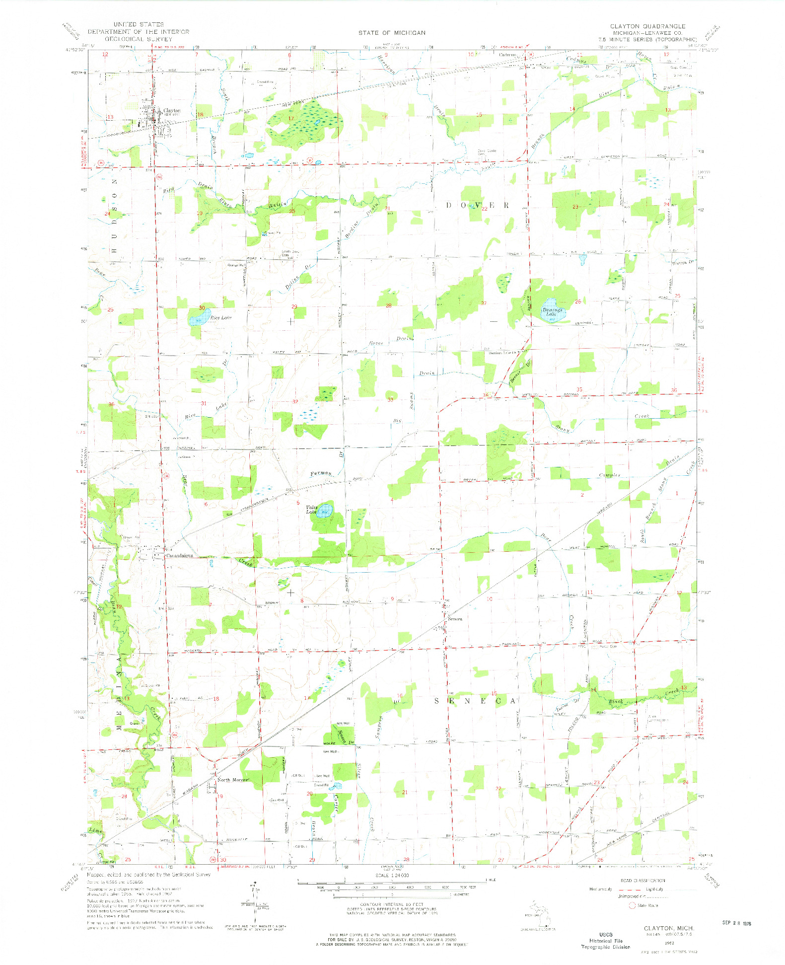 USGS 1:24000-SCALE QUADRANGLE FOR CLAYTON, MI 1962