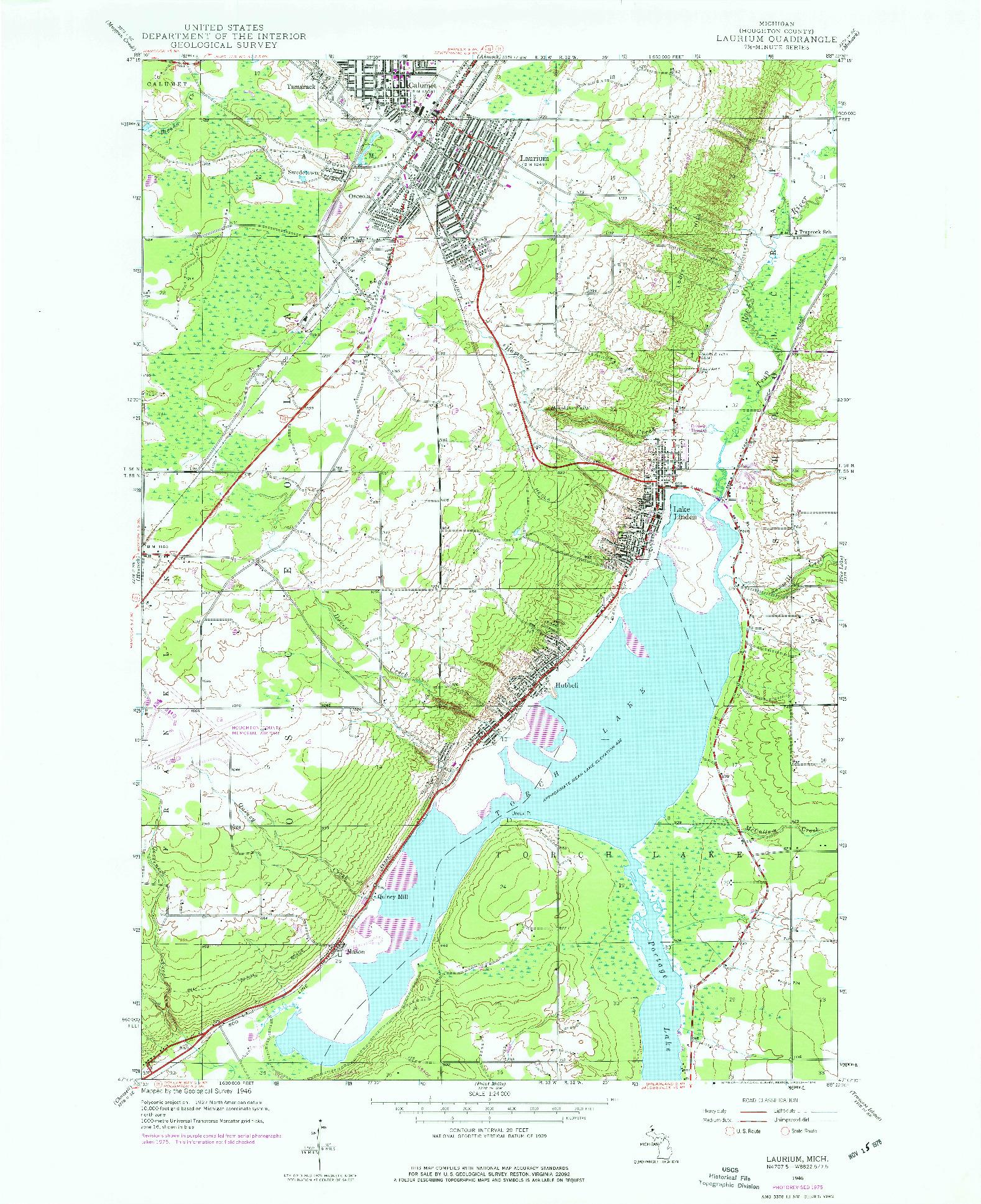 USGS 1:24000-SCALE QUADRANGLE FOR LAURIUM, MI 1946