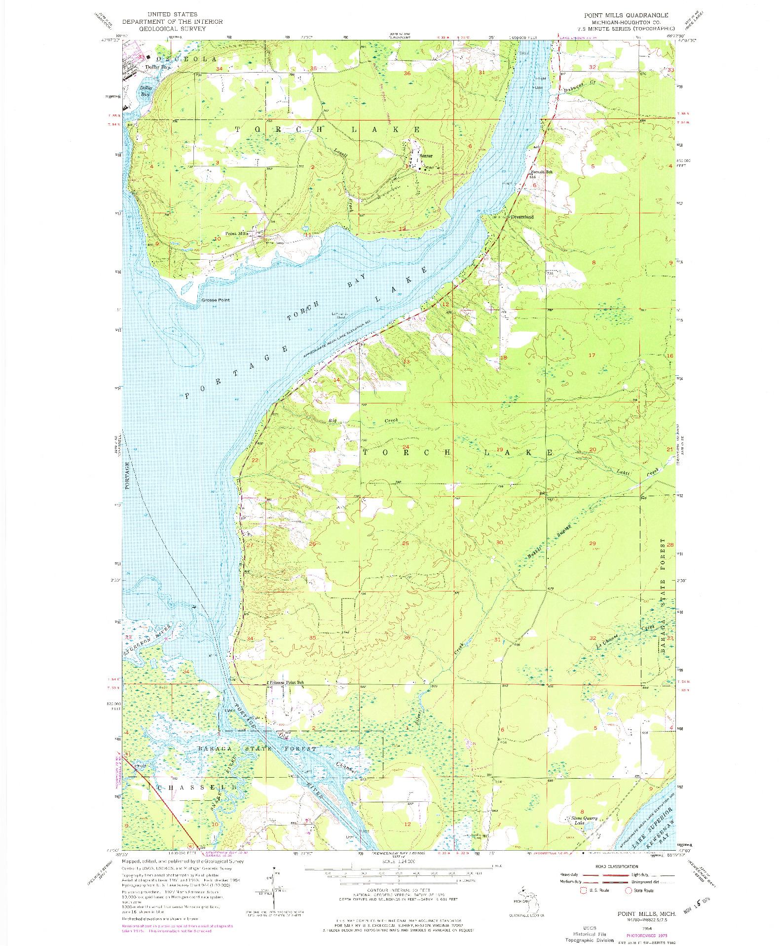 USGS 1:24000-SCALE QUADRANGLE FOR POINT MILLS, MI 1954