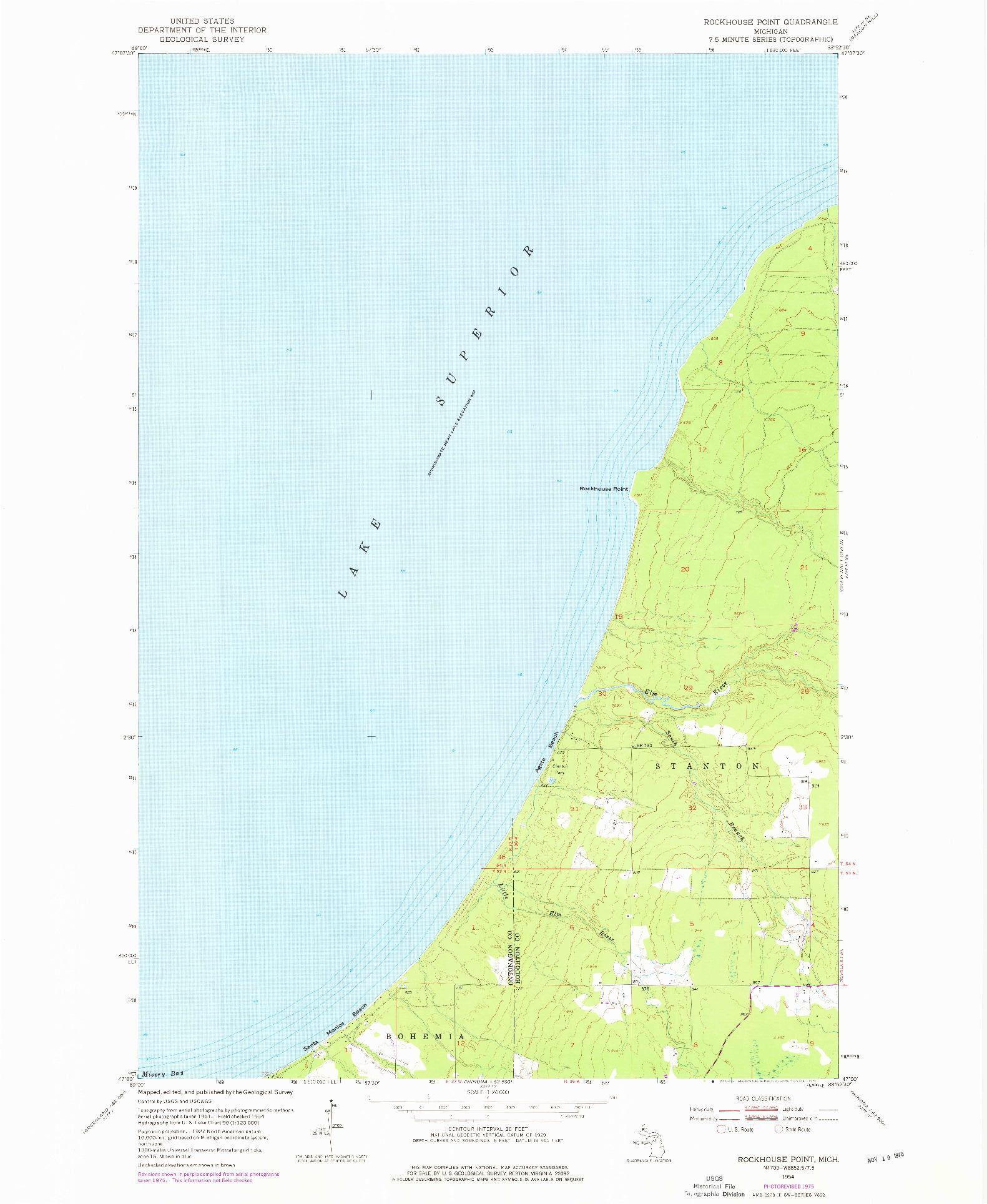 USGS 1:24000-SCALE QUADRANGLE FOR ROCKHOUSE POINT, MI 1954