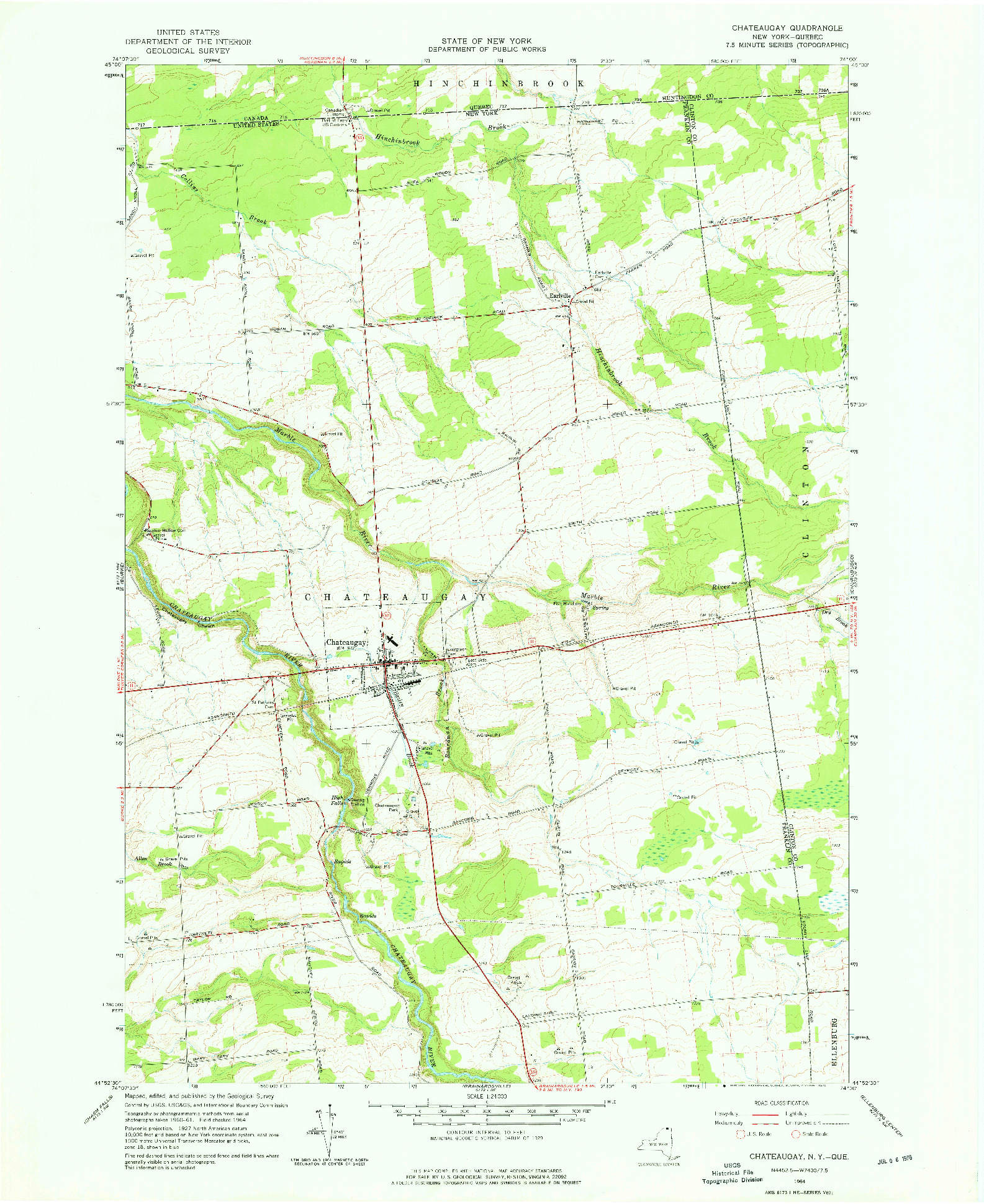USGS 1:24000-SCALE QUADRANGLE FOR CHATEAUGAY, NY 1964