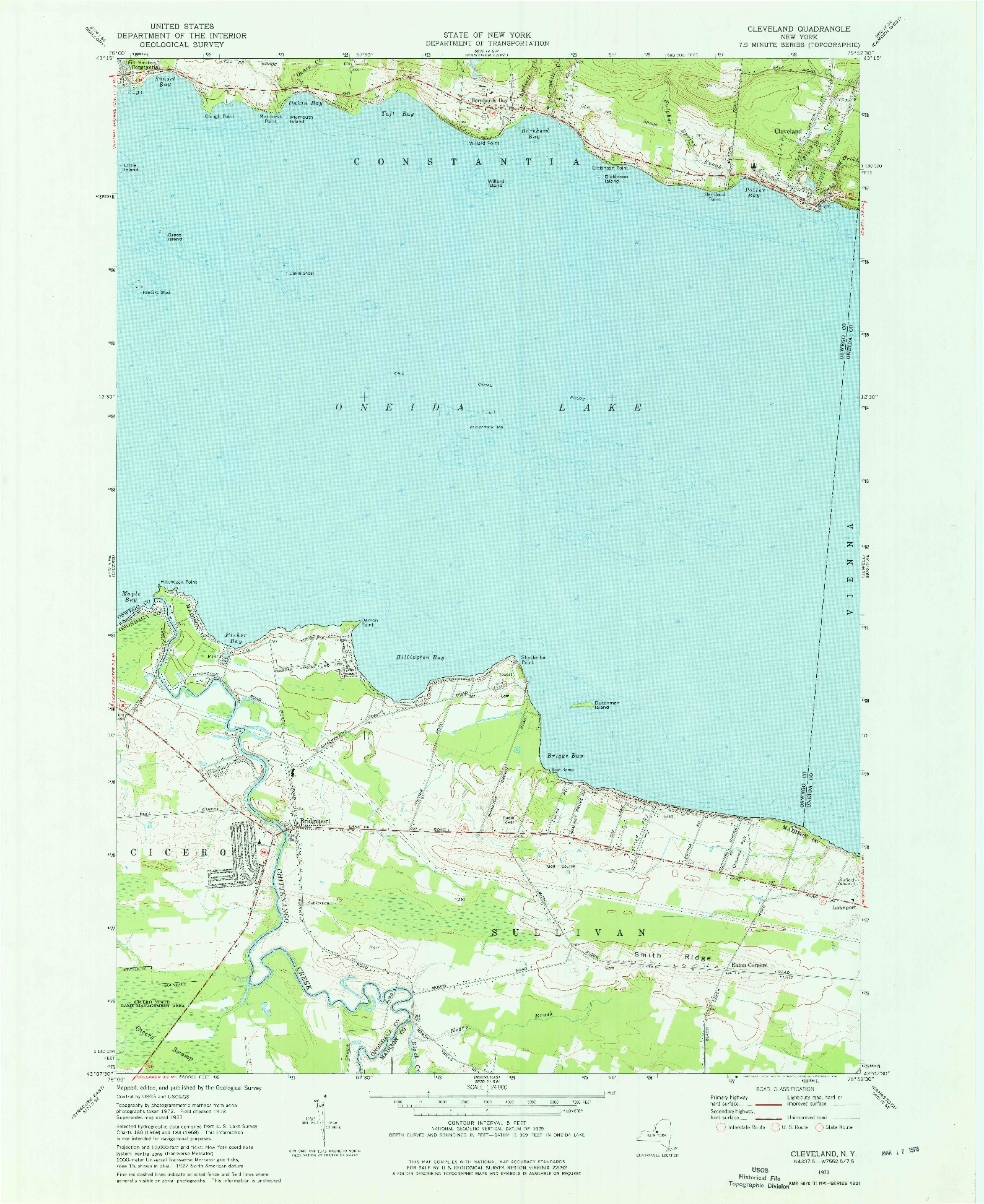 USGS 1:24000-SCALE QUADRANGLE FOR CLEVELAND, NY 1973