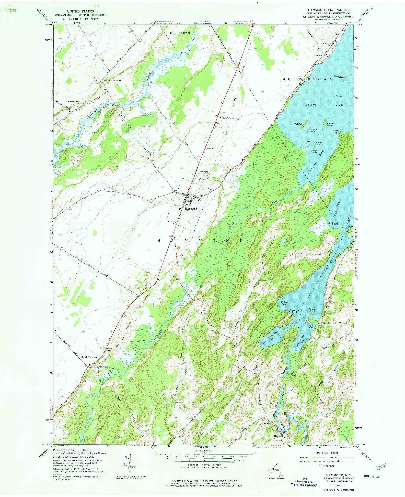 USGS 1:24000-SCALE QUADRANGLE FOR HAMMOND, NY 1961