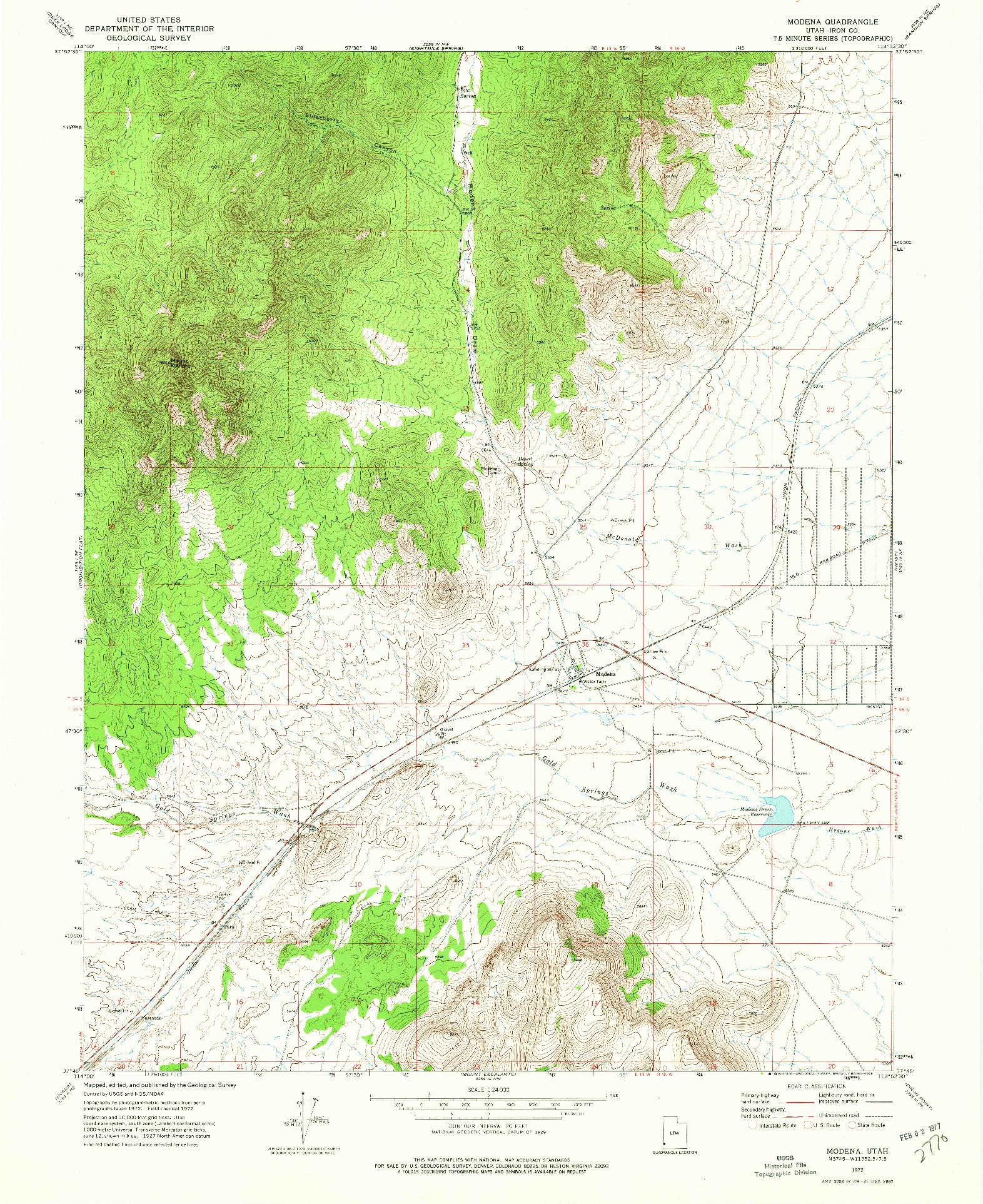 USGS 1:24000-SCALE QUADRANGLE FOR MODENA, UT 1972