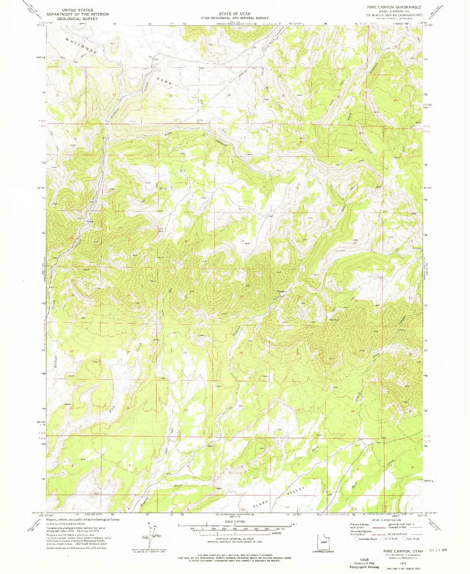 USGS 1:24000-SCALE QUADRANGLE FOR PINE CANYON, UT 1972