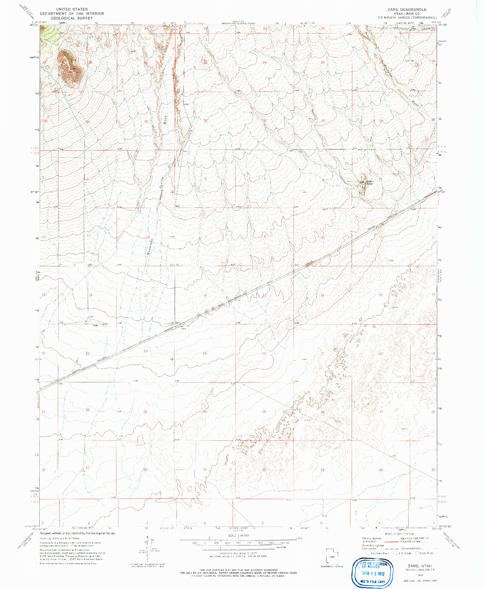 USGS 1:24000-SCALE QUADRANGLE FOR ZANE, UT 1972