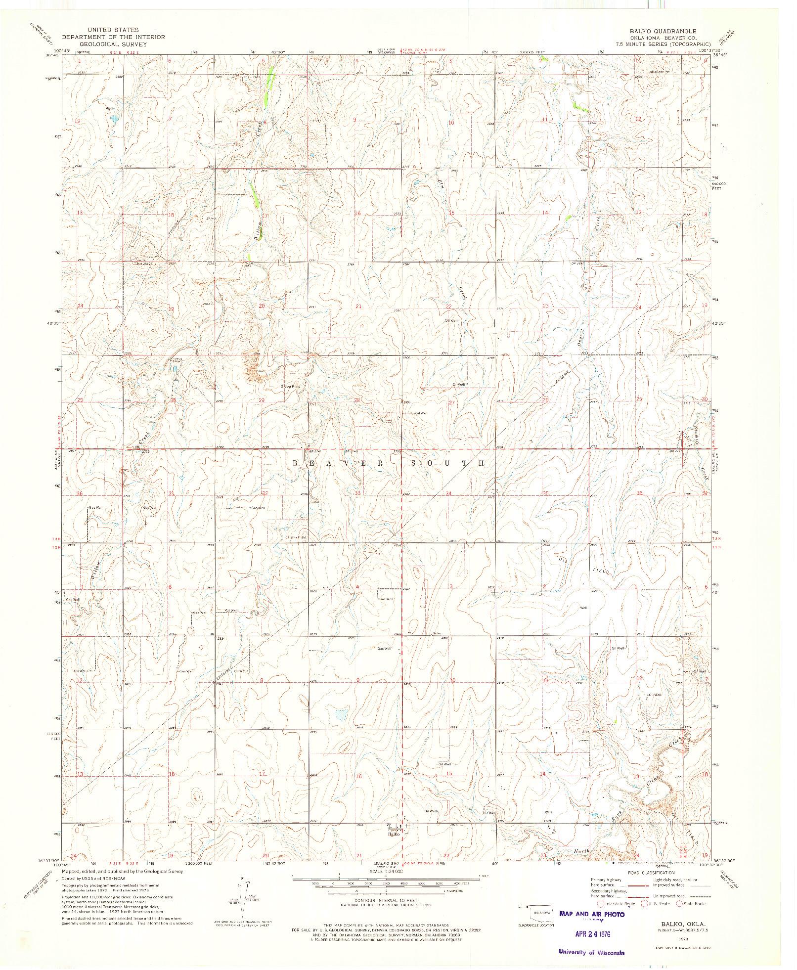 USGS 1:24000-SCALE QUADRANGLE FOR BALKO, OK 1973