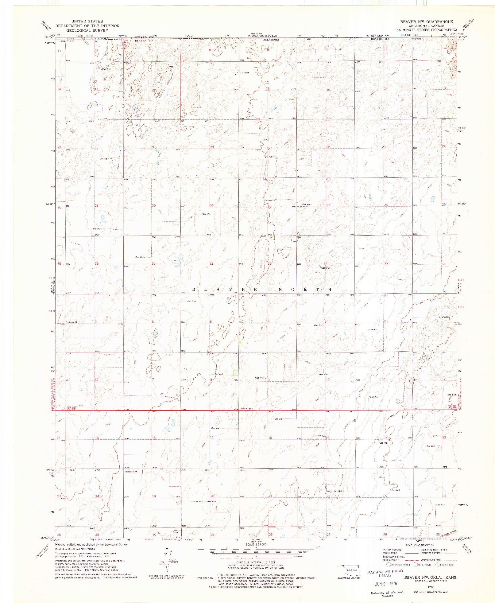 USGS 1:24000-SCALE QUADRANGLE FOR BEAVER NW, OK 1973