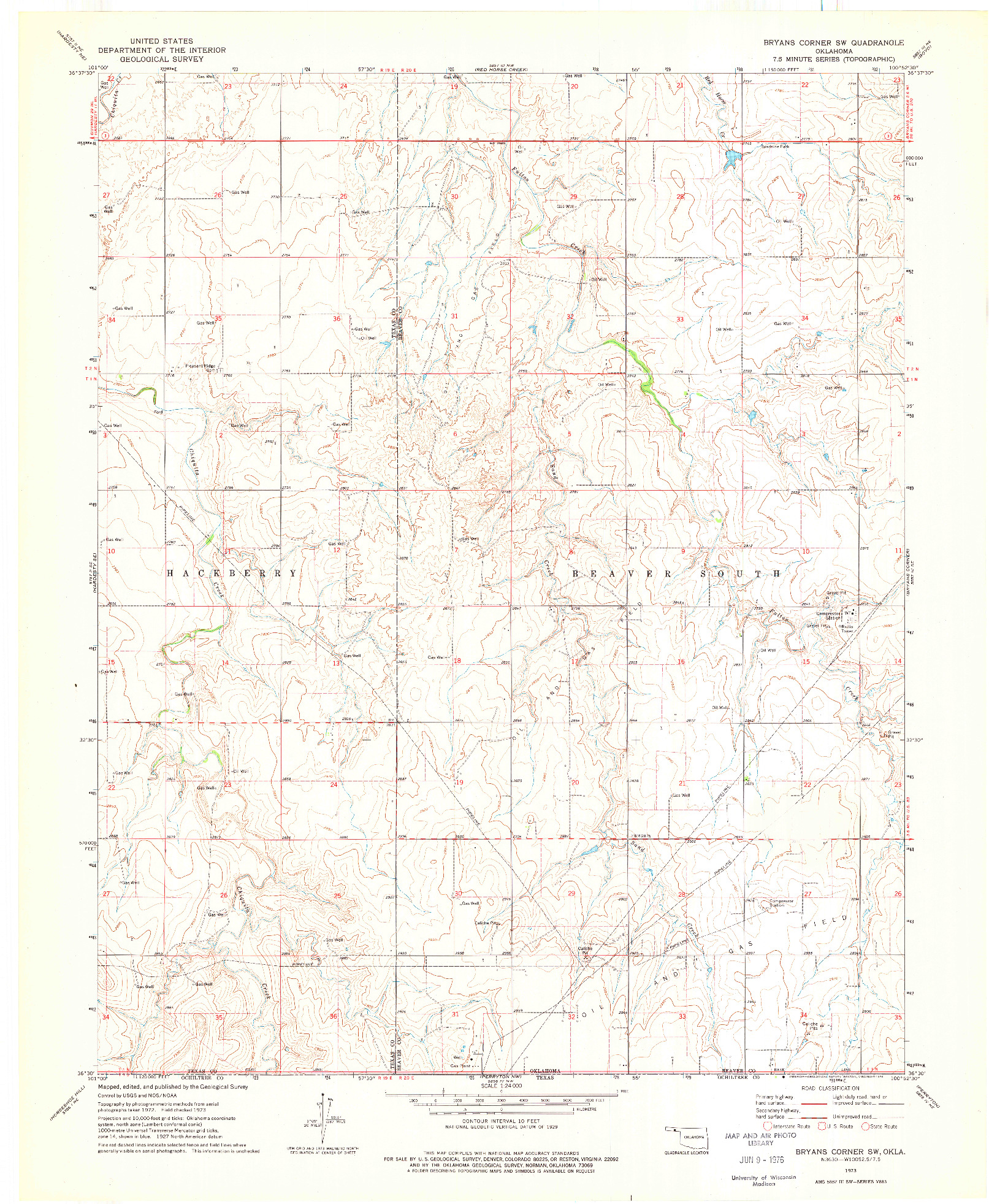 USGS 1:24000-SCALE QUADRANGLE FOR BRYANS CORNER SW, OK 1973