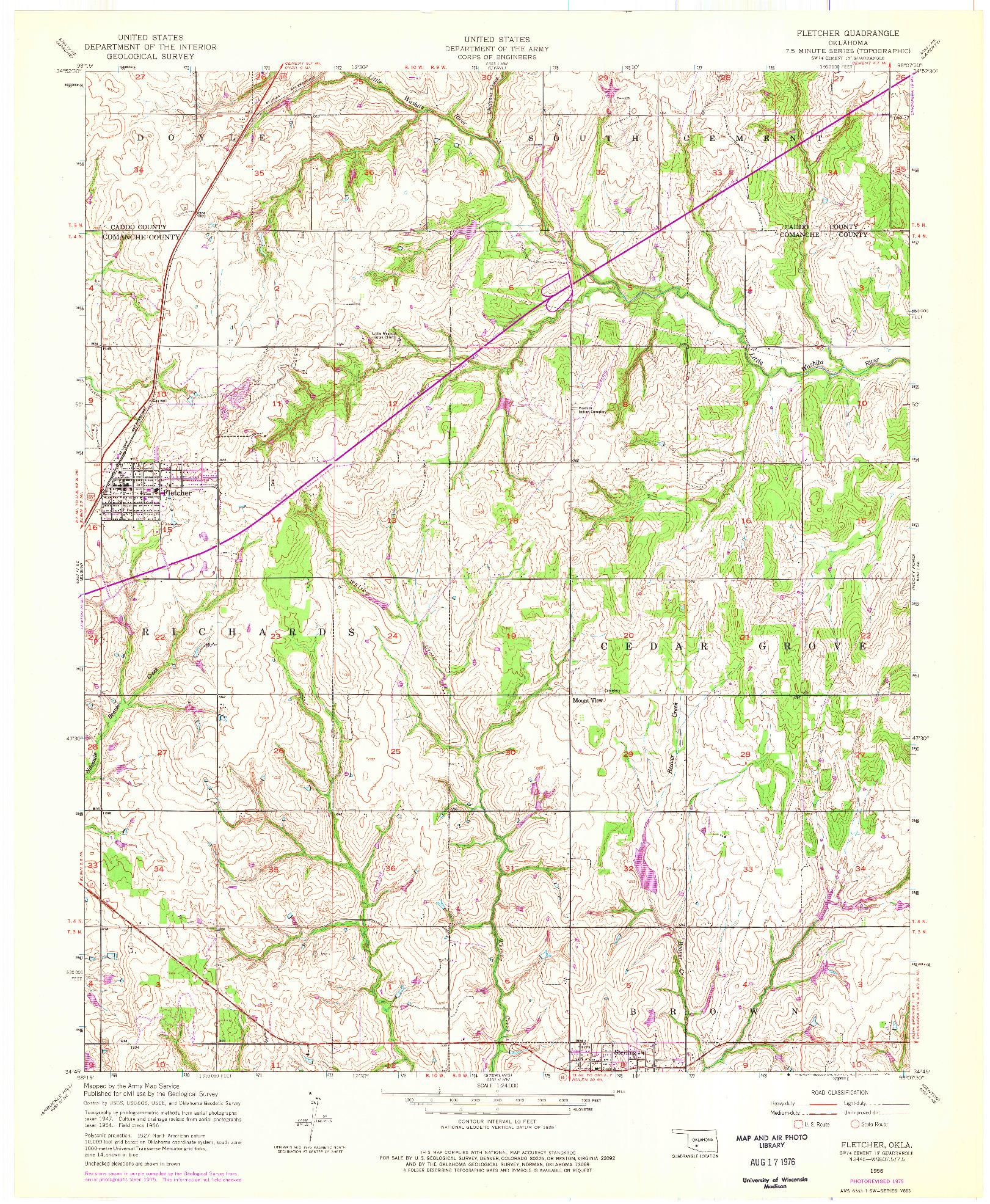 USGS 1:24000-SCALE QUADRANGLE FOR FLETCHER, OK 1956