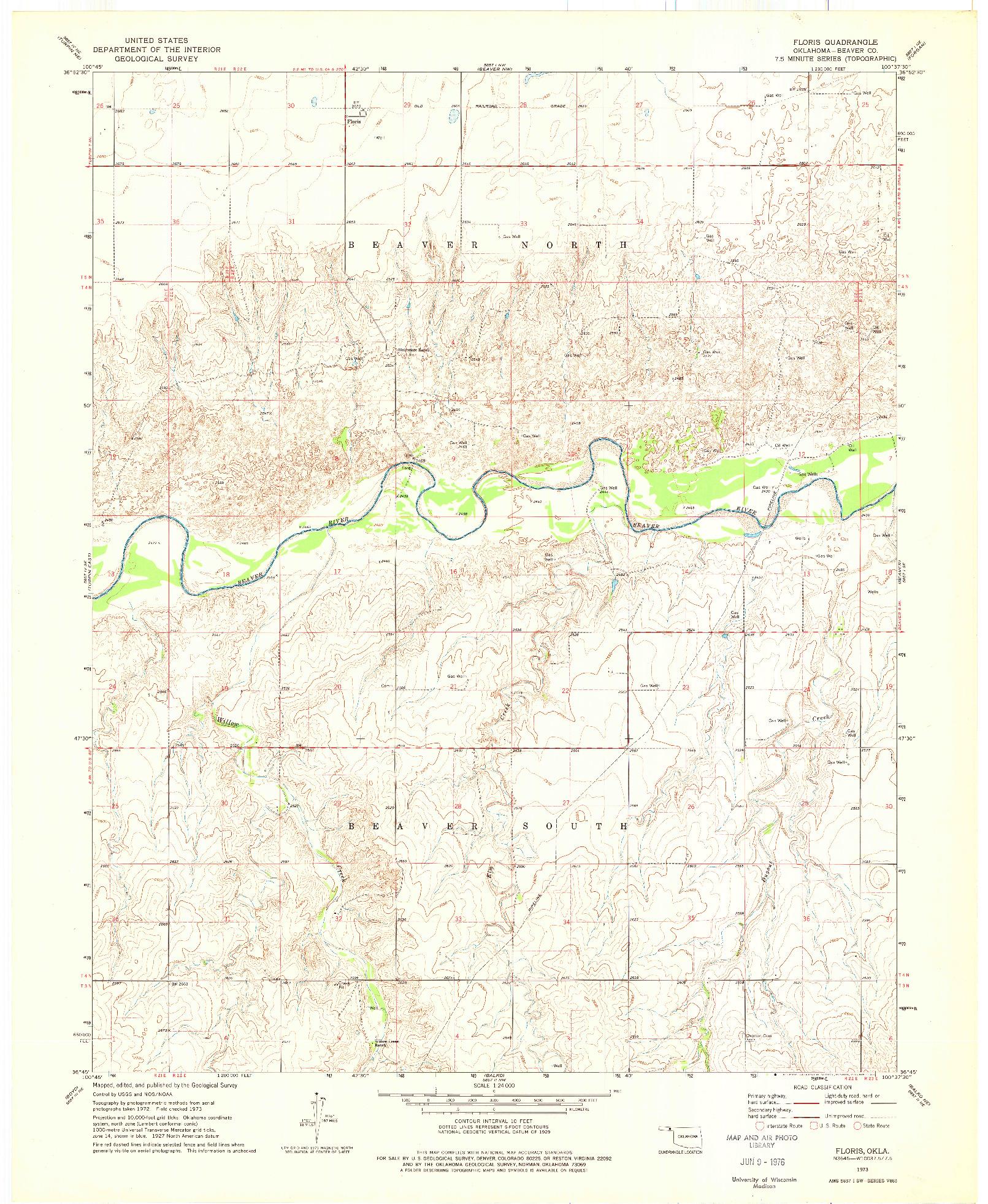 USGS 1:24000-SCALE QUADRANGLE FOR FLORIS, OK 1973