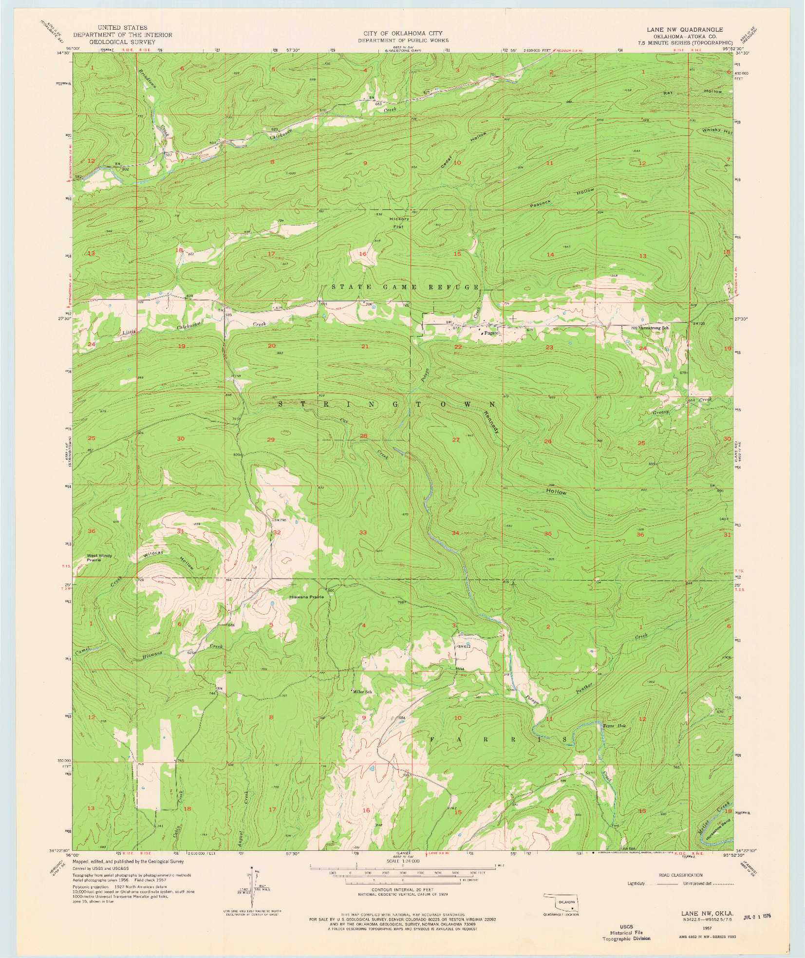 USGS 1:24000-SCALE QUADRANGLE FOR LANE NW, OK 1957