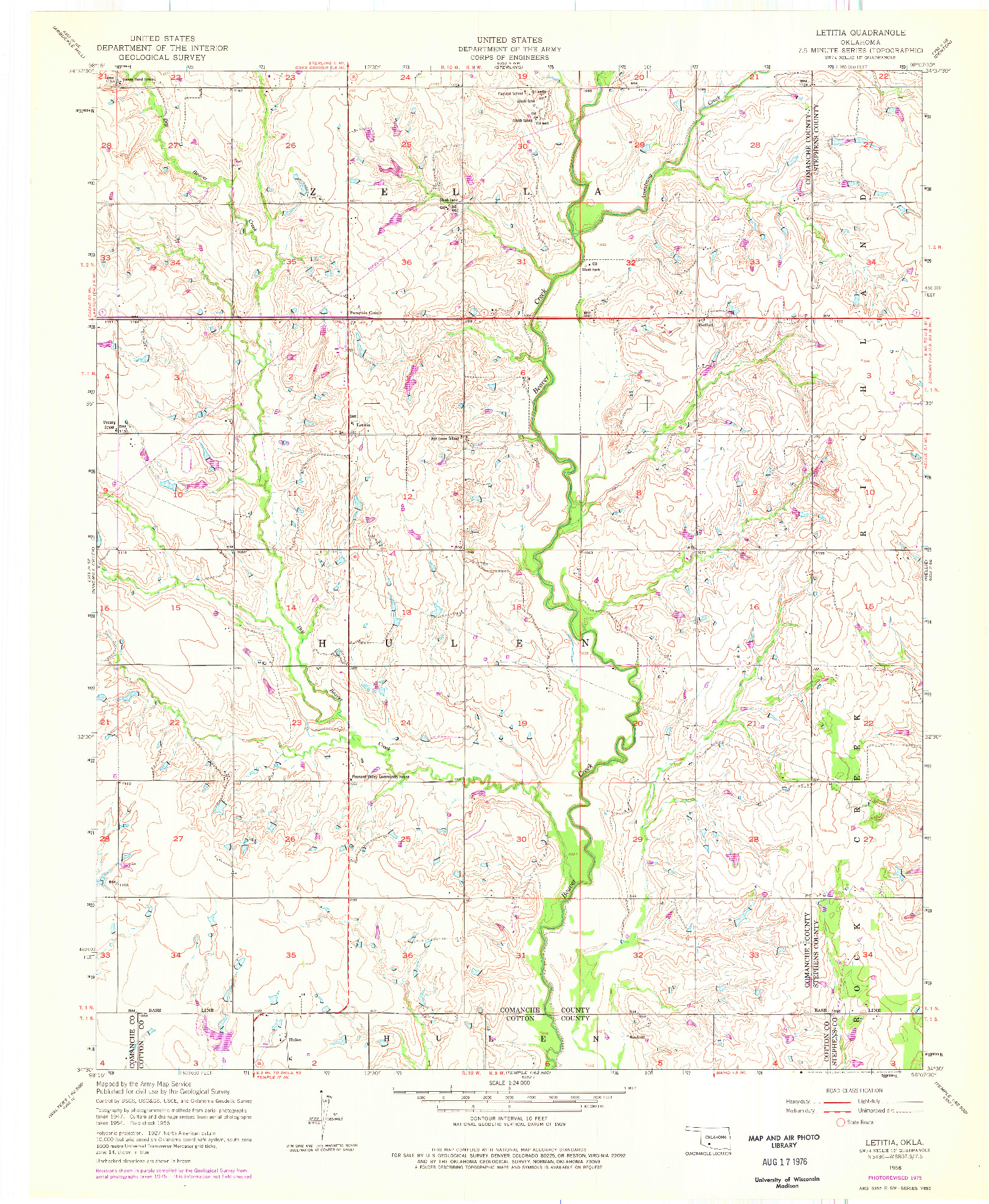 USGS 1:24000-SCALE QUADRANGLE FOR LETITIA, OK 1956