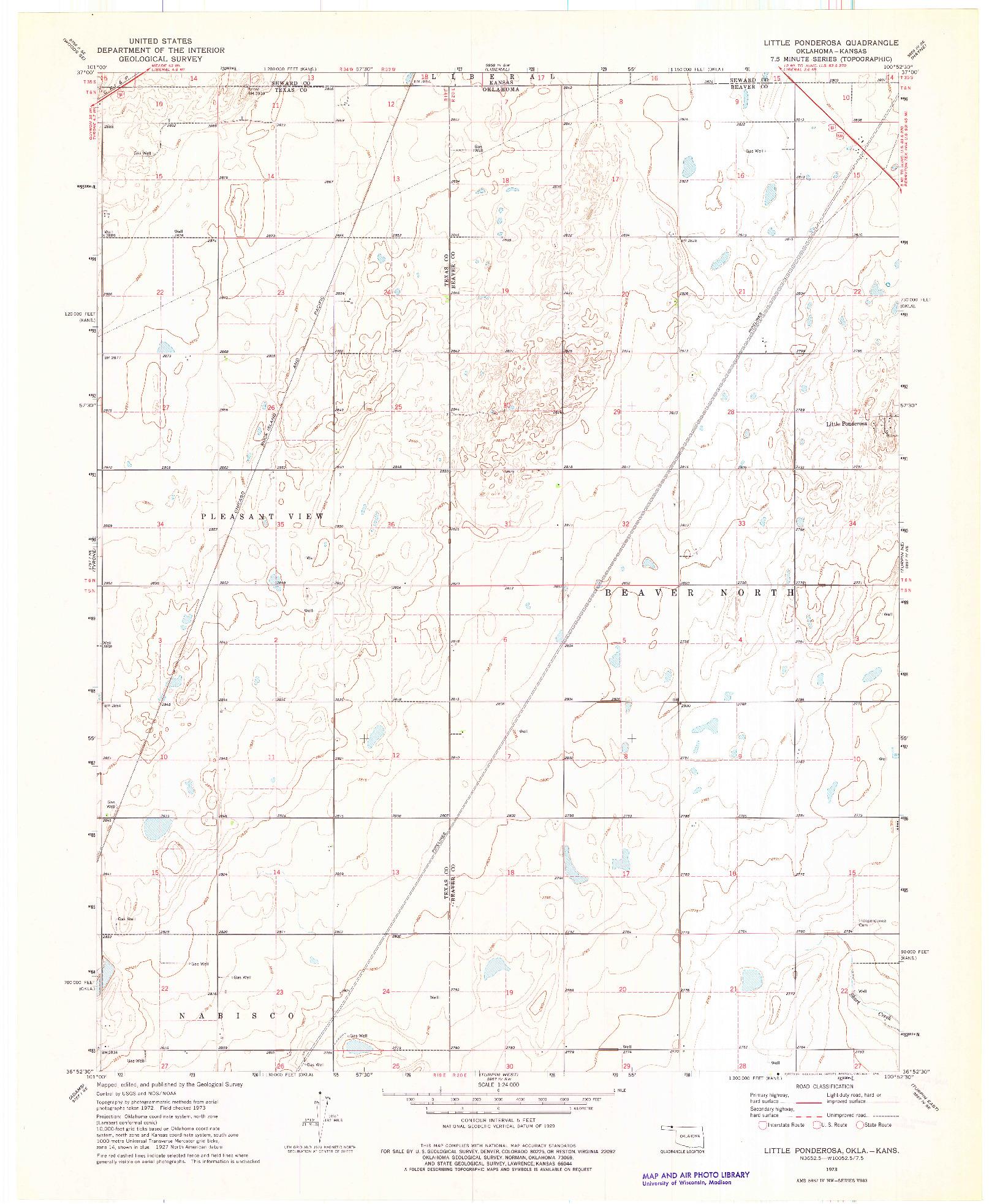 USGS 1:24000-SCALE QUADRANGLE FOR LITTLE PONDEROSA, OK 1973