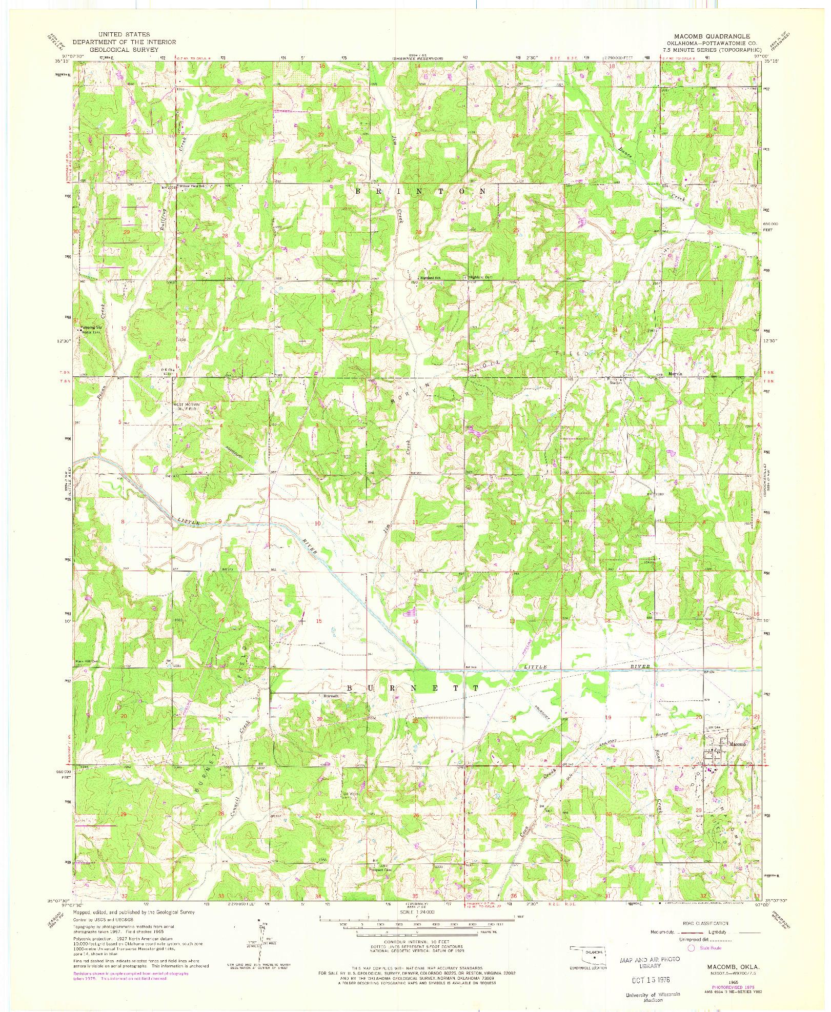USGS 1:24000-SCALE QUADRANGLE FOR MACOMB, OK 1965
