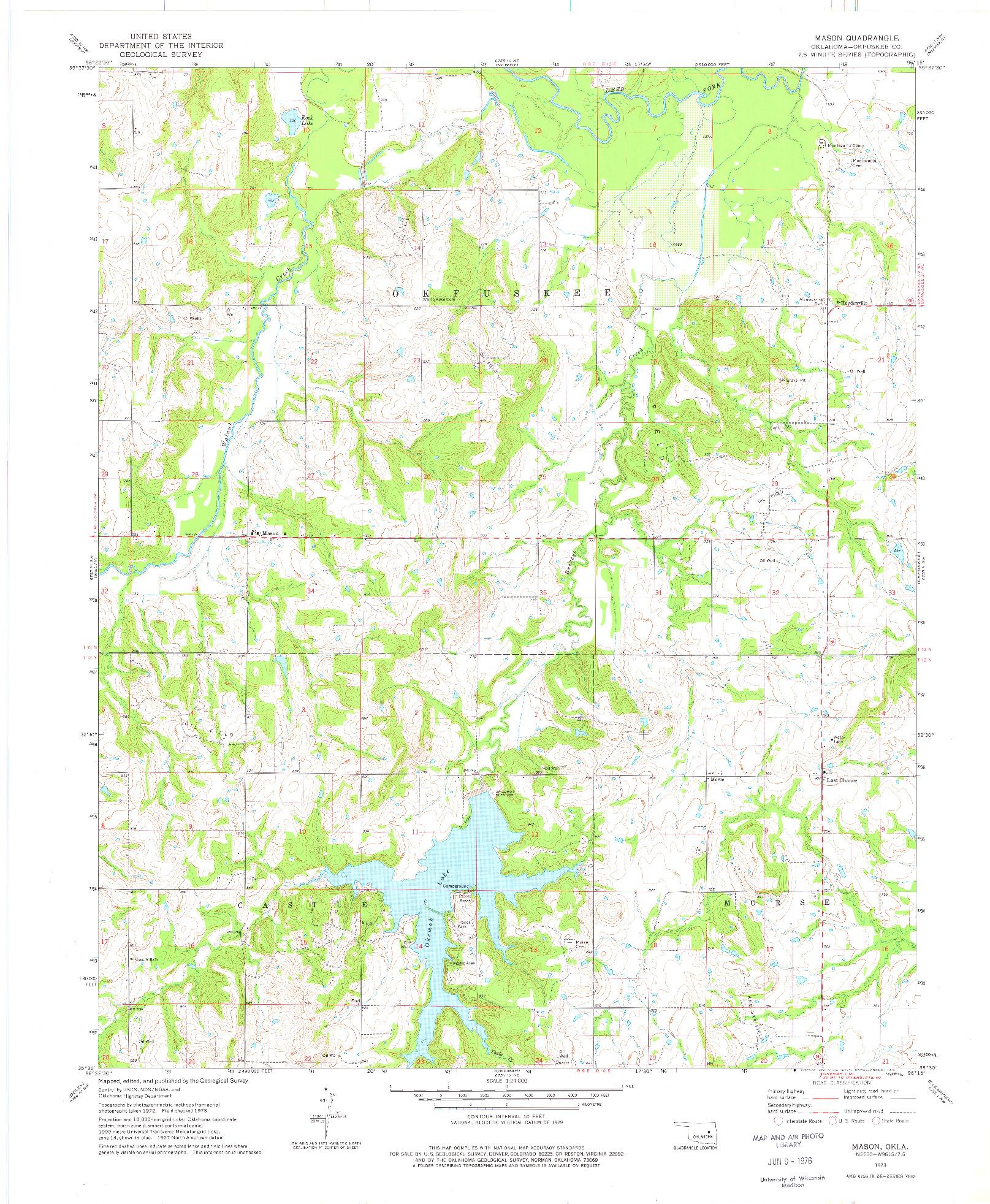 USGS 1:24000-SCALE QUADRANGLE FOR MASON, OK 1973