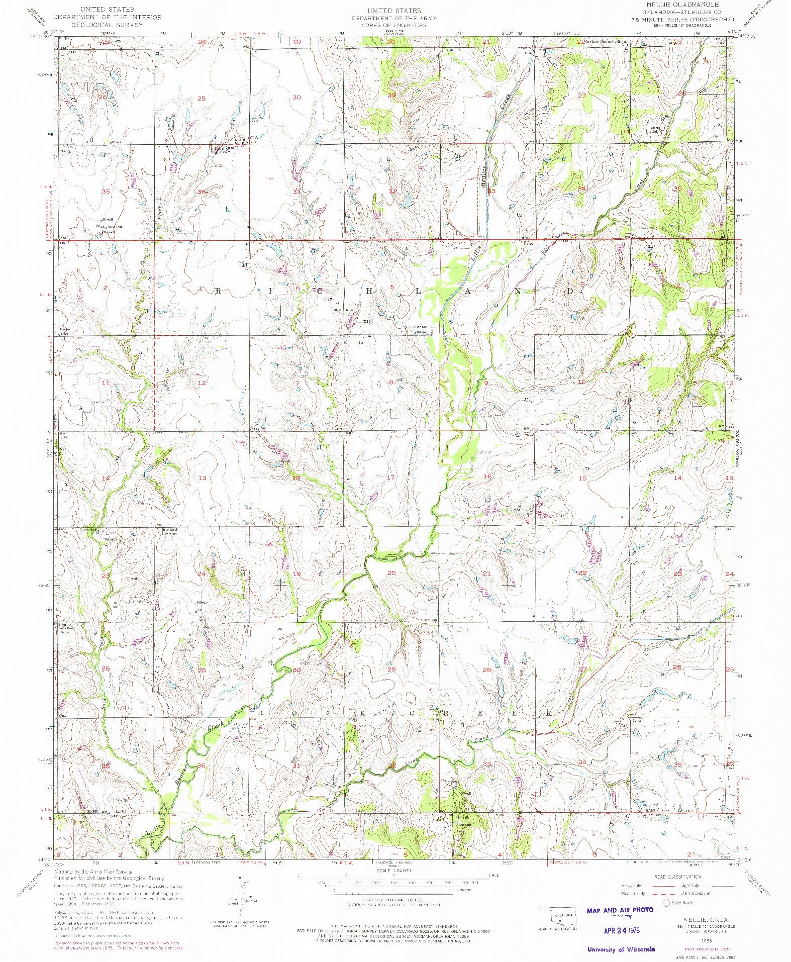 USGS 1:24000-SCALE QUADRANGLE FOR NELLIE, OK 1956