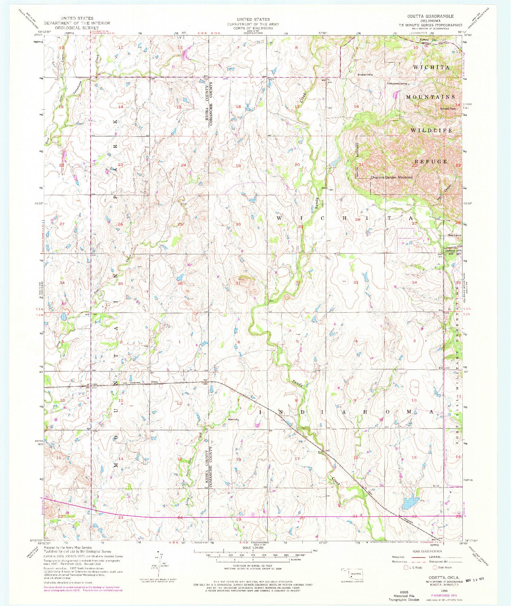 USGS 1:24000-SCALE QUADRANGLE FOR ODETTA, OK 1956