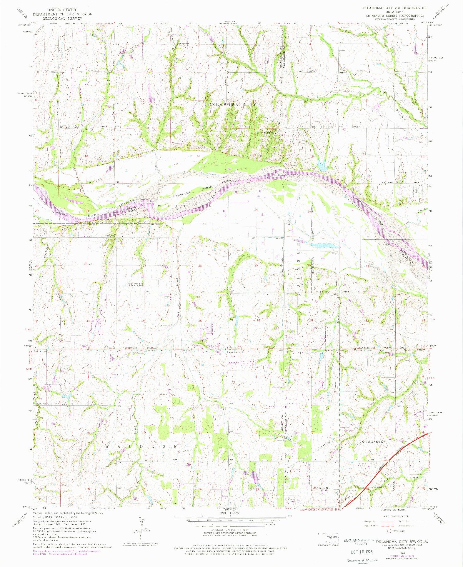 USGS 1:24000-SCALE QUADRANGLE FOR OKLAHOMA CITY SW, OK 1965