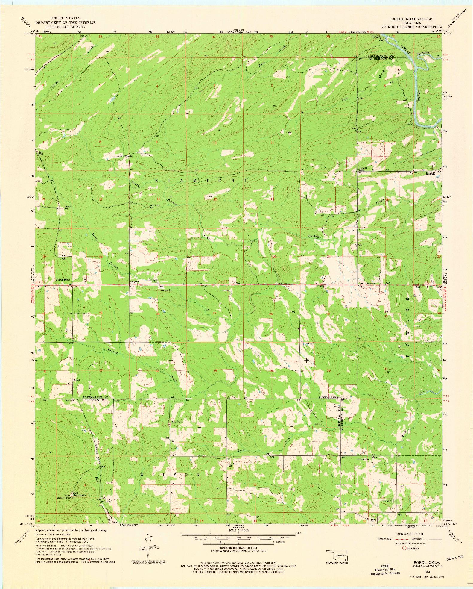 USGS 1:24000-SCALE QUADRANGLE FOR SOBOL, OK 1962