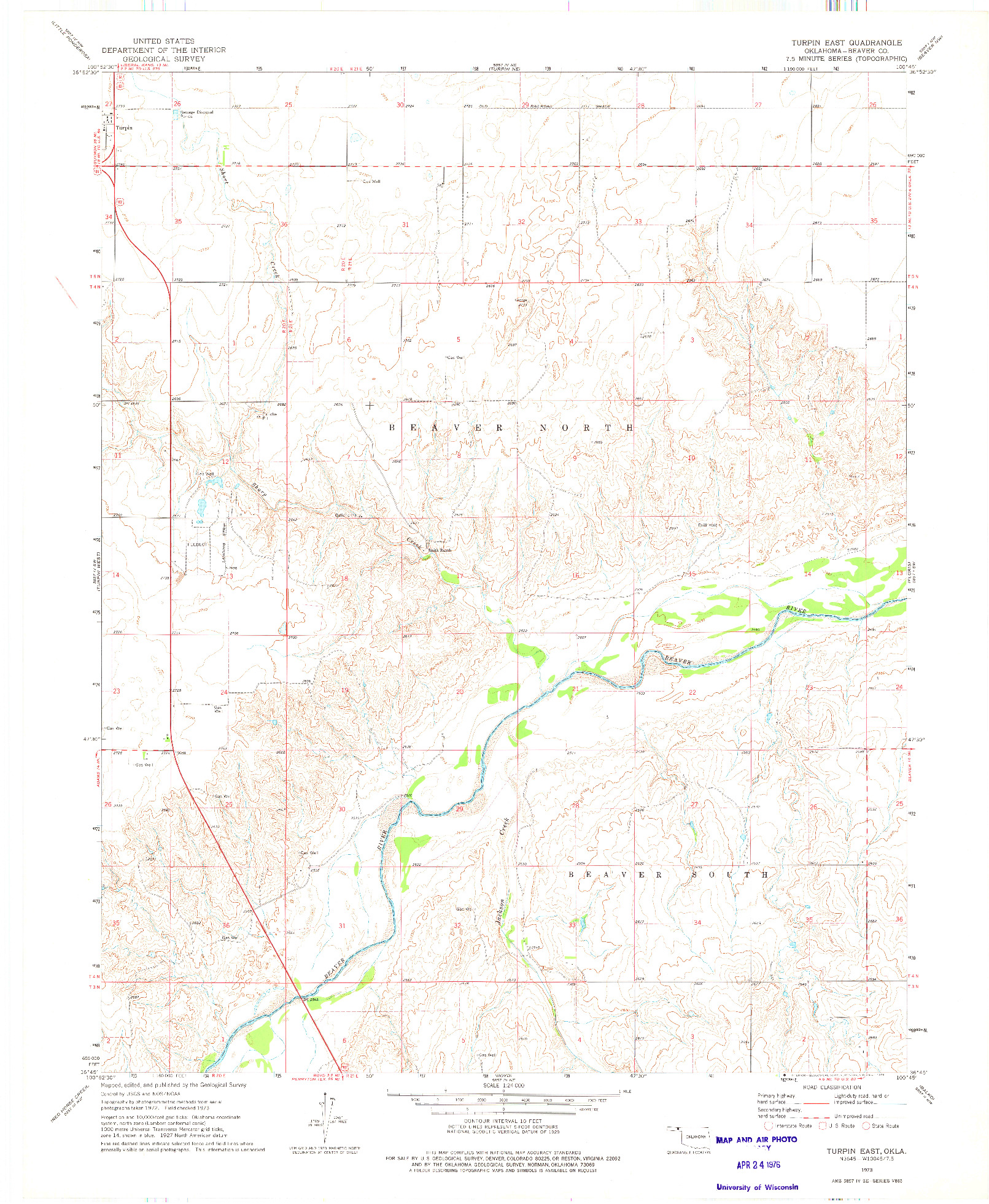 USGS 1:24000-SCALE QUADRANGLE FOR TURPIN EAST, OK 1973