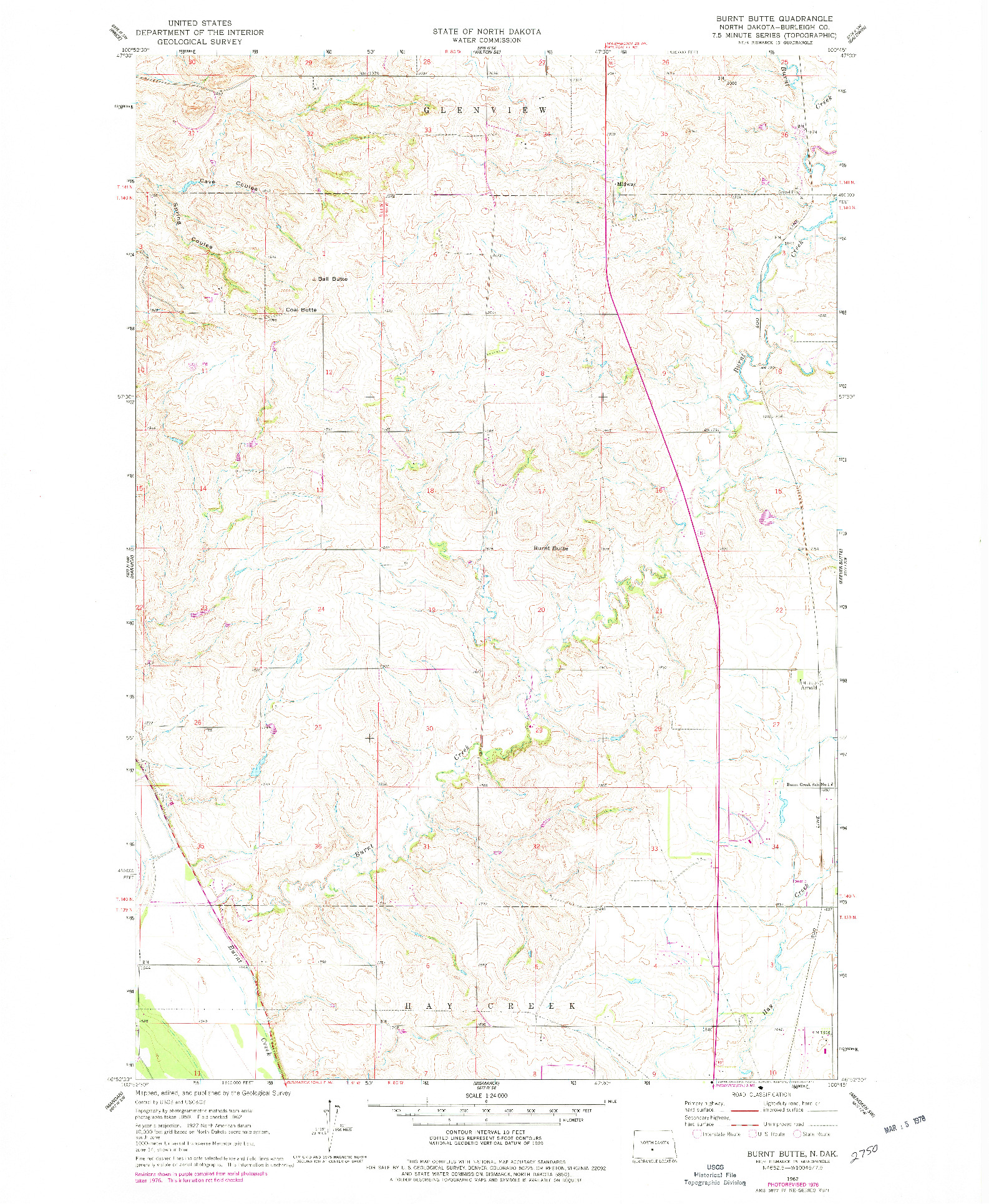 USGS 1:24000-SCALE QUADRANGLE FOR BURNT BUTTE, ND 1962
