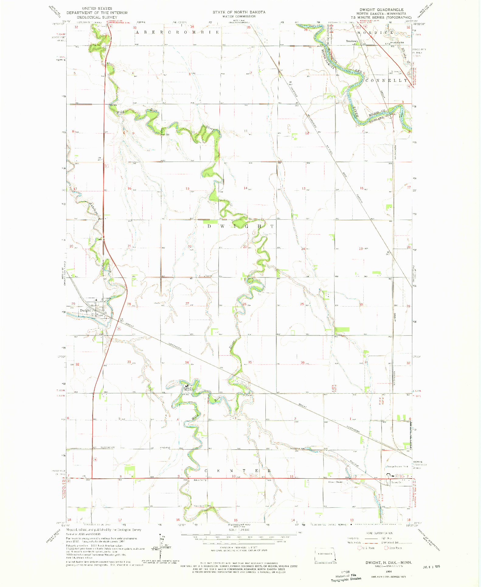 USGS 1:24000-SCALE QUADRANGLE FOR DWIGHT, ND 1964