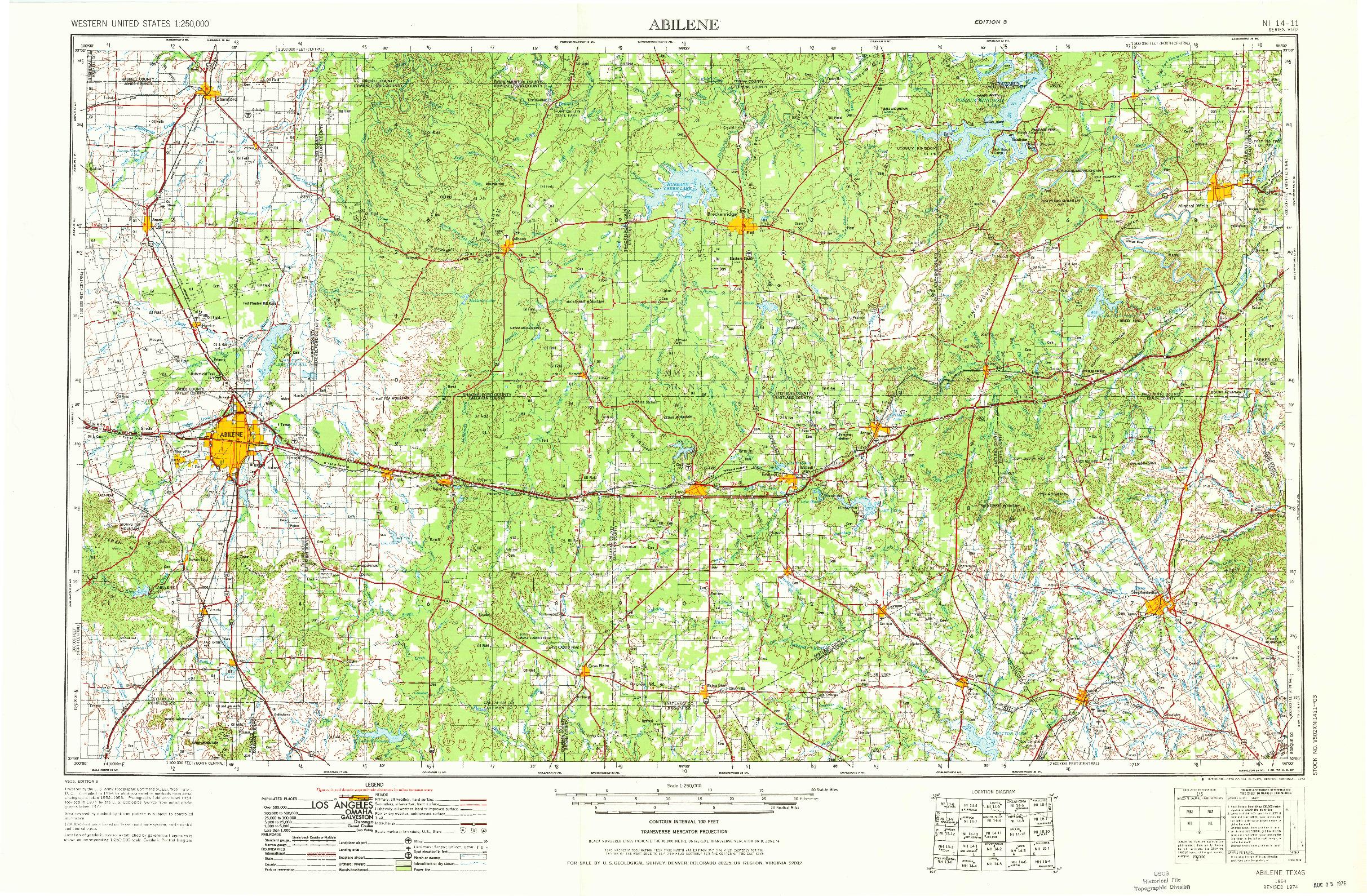 USGS 1:250000-SCALE QUADRANGLE FOR ABILENE, TX 1954