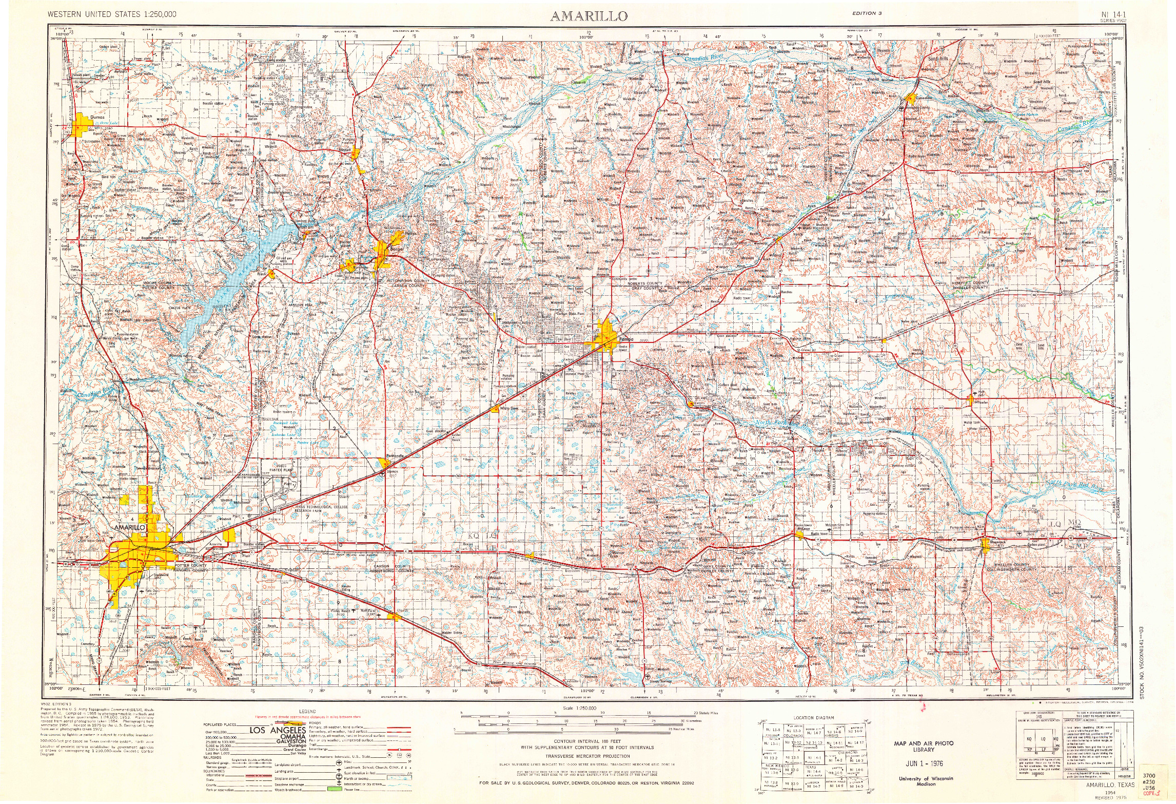 USGS 1:250000-SCALE QUADRANGLE FOR AMARILLO, TX 1954