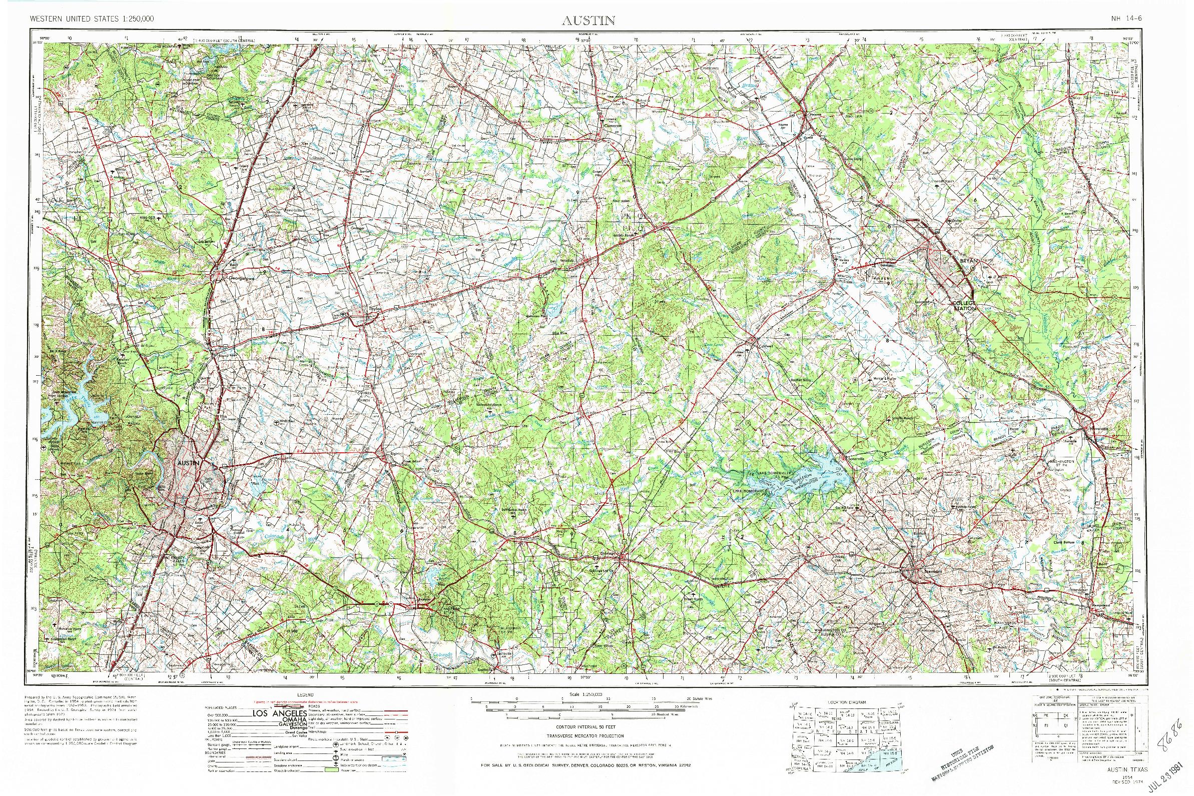 USGS 1:250000-SCALE QUADRANGLE FOR AUSTIN, TX 1954