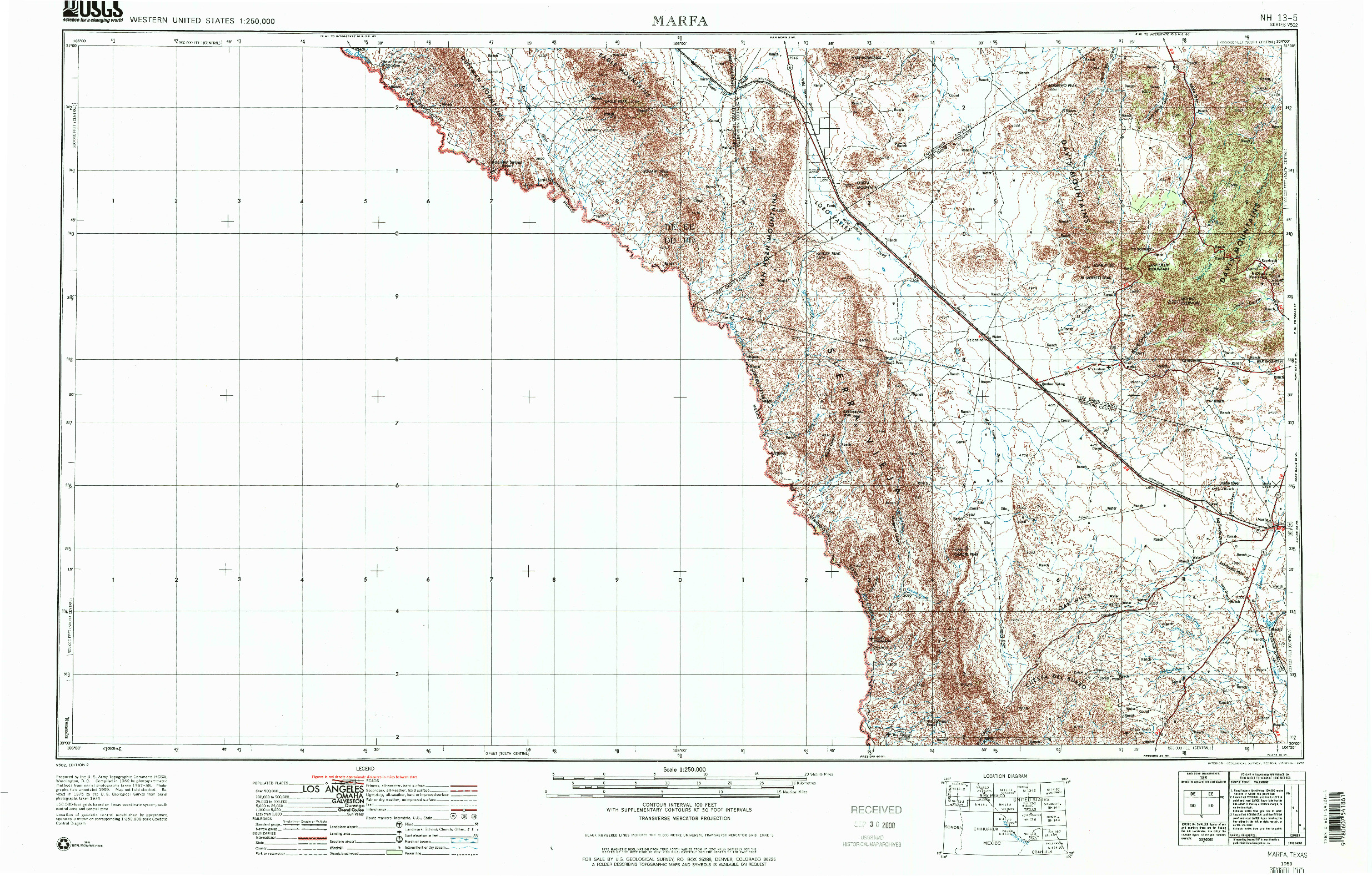 USGS 1:250000-SCALE QUADRANGLE FOR MARFA, TX 1959